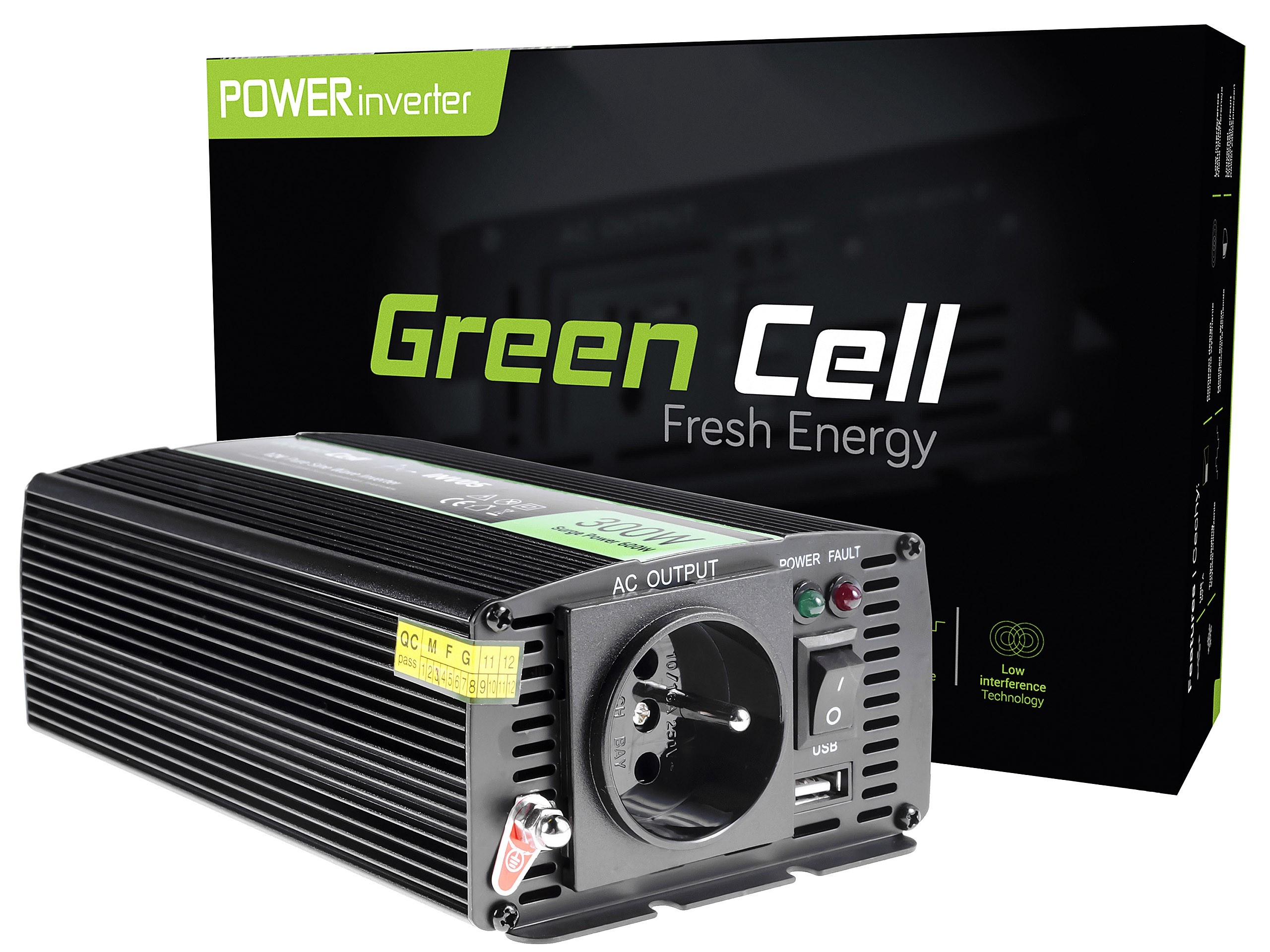 Měnič napětí Green Cell 12V na 230V, 300W | 600W - Čistá sinusovka