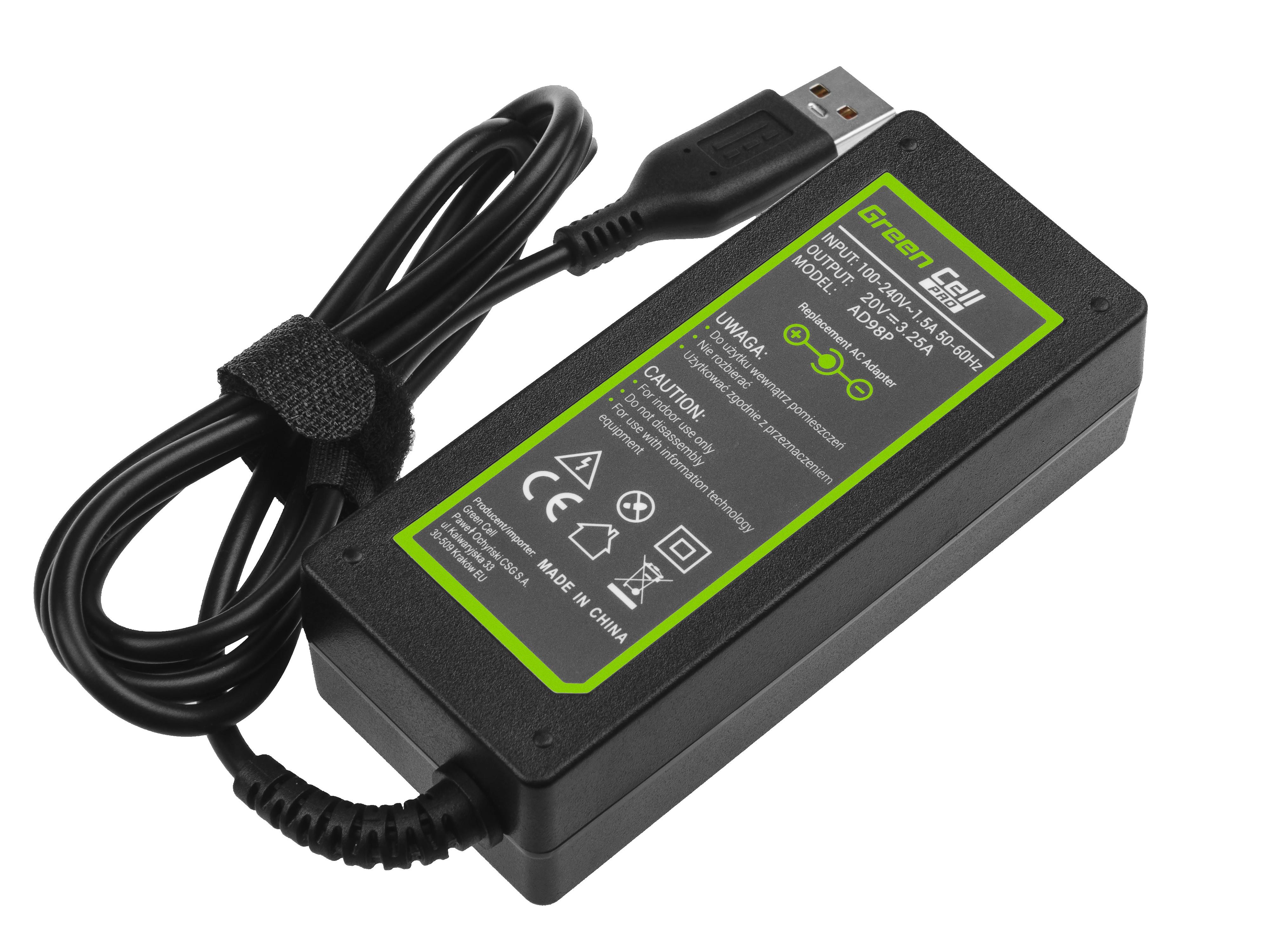Green Cell AD98P Nabíječka Adaptér pro Lenovo Yoga 4 Pro 20V 3.25A 65W