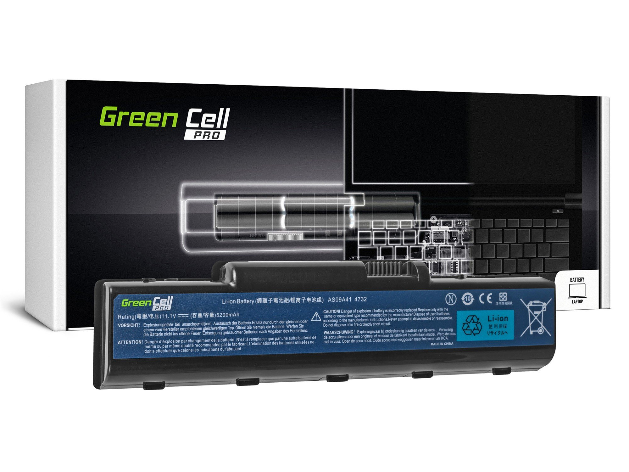 Green Cell AC21PRO Baterie Acer Aspire 4732Z/5732Z/5532/TJ65/AS09A41/AS09A31/AS09A51/MS2267 5200mAh Li-ion - neoriginální