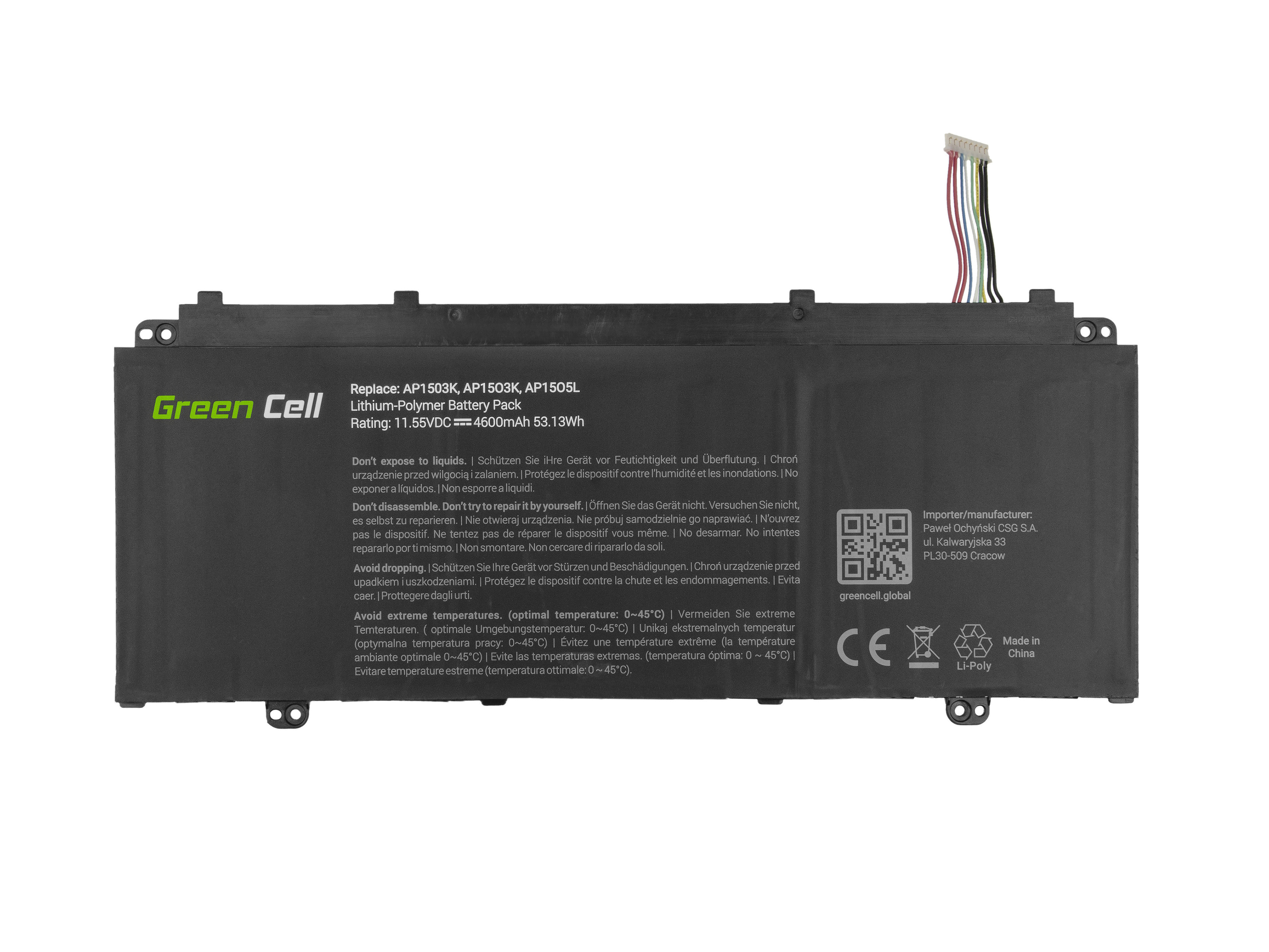 Green Cell AC56 Baterie Acer AP1503K/AP1505L/AP15O3K/AP15O5L/Aspire S13/Swift 5 4600mAh Li-Pol – neoriginální