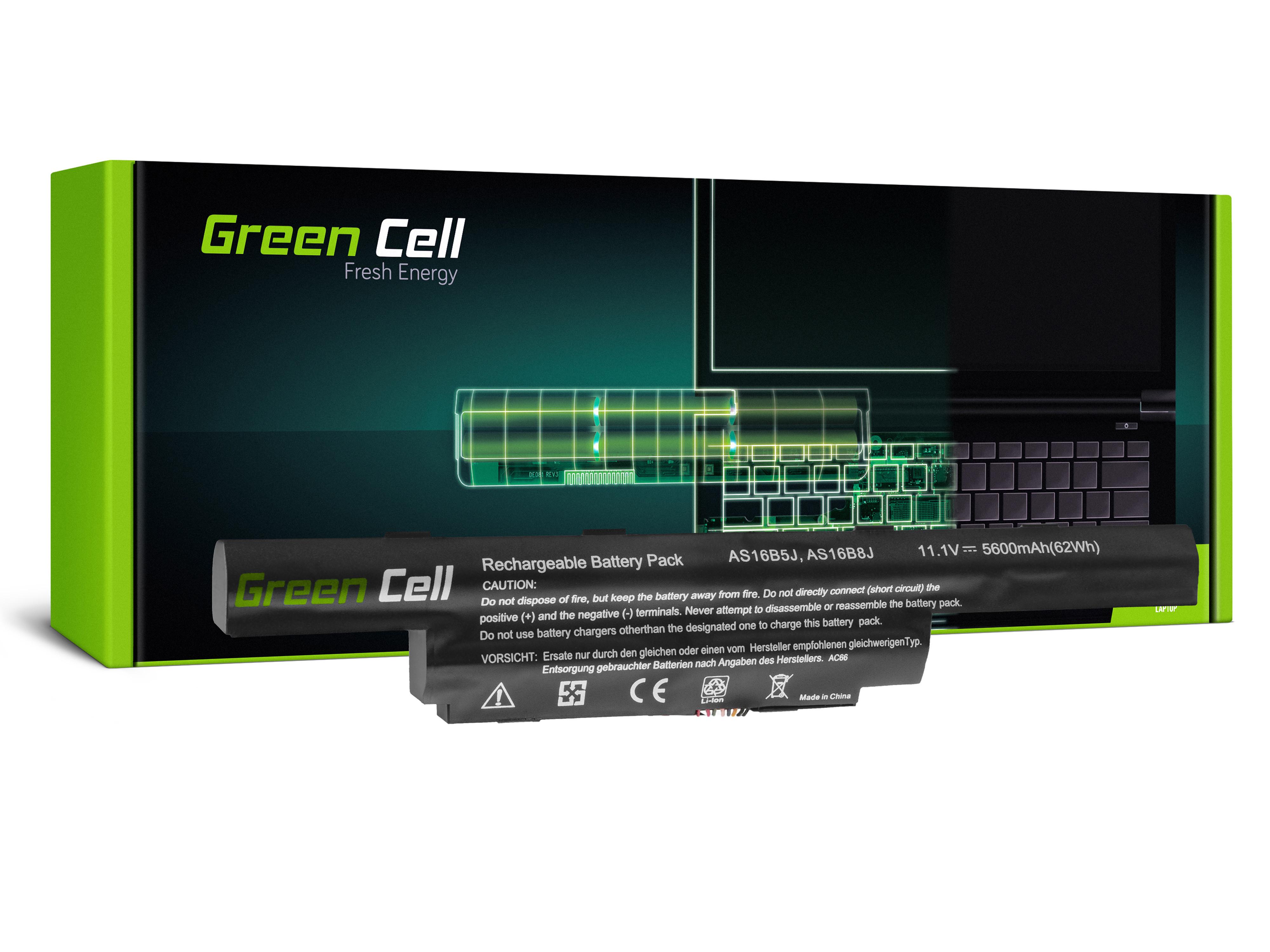 Green Cell AC66 Baterie Acer AS16B5J,AS16B8J, Acer Aspire E15 E5-575 E5-575G F15 F5-573 F5-573G TravelMate P259 P259-M P259-G2-M 5200mAh Li-Pol - neoriginální