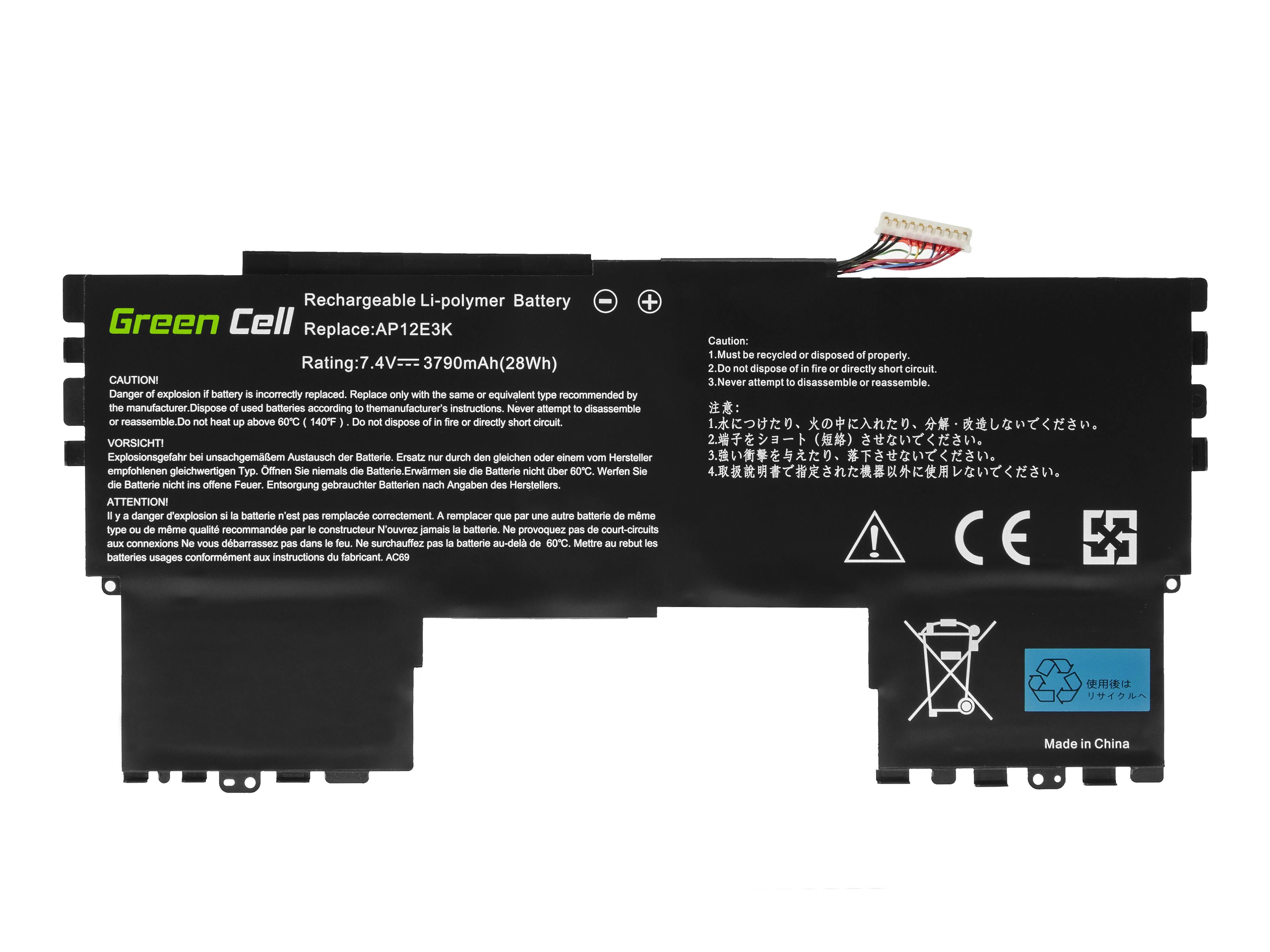 Green Cell AC69 Baterie AP12E3K,Acer Aspire S7-191 3790mAh Li-Pol – neoriginální