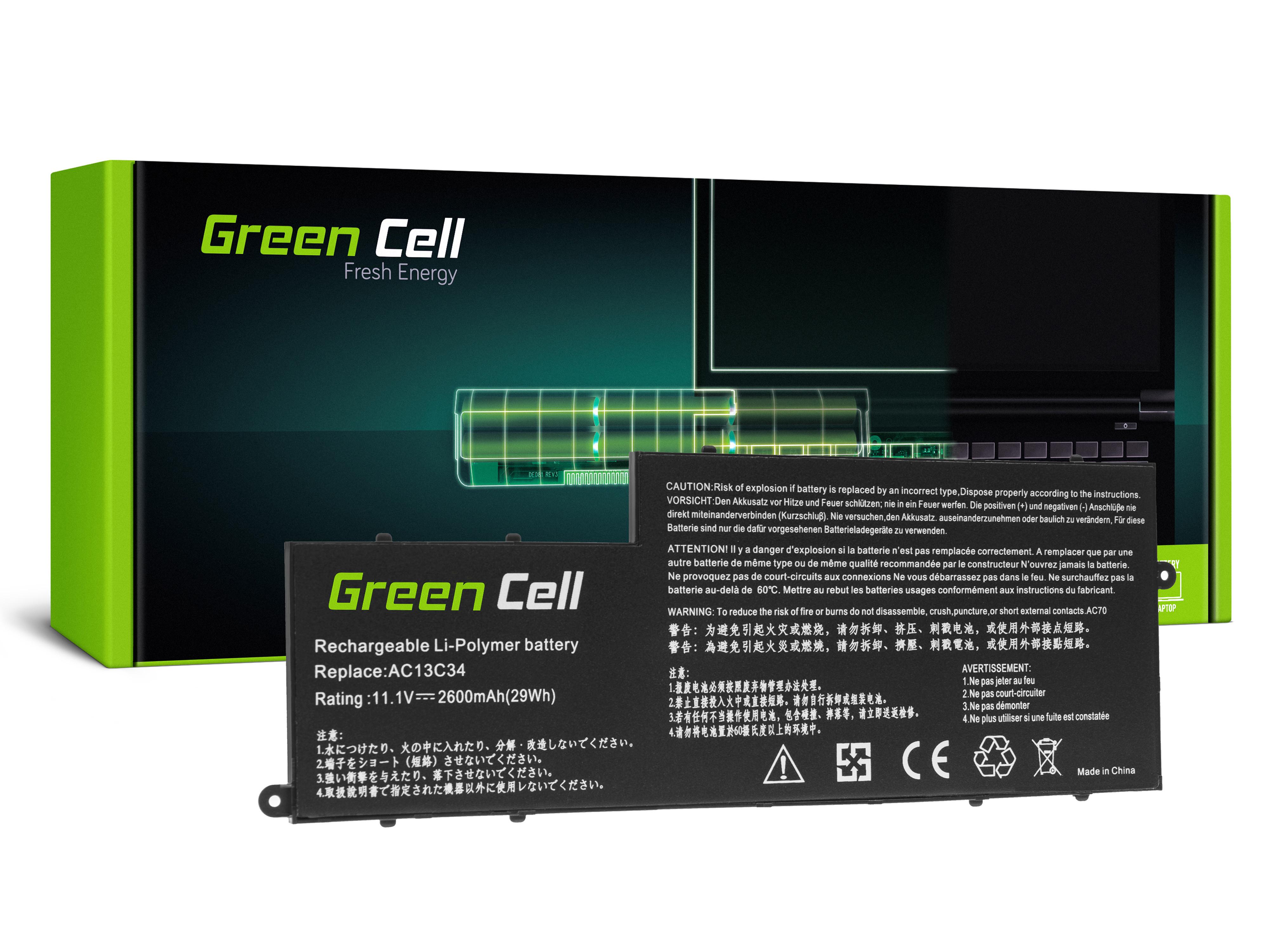 Green Cell AC69 Baterie AC13C34, Acer Aspire E3-111 E3-112 E3-112M ES1-111 ES1-111M V5-122P V5-132P 2600mAh Li-Pol – neoriginální