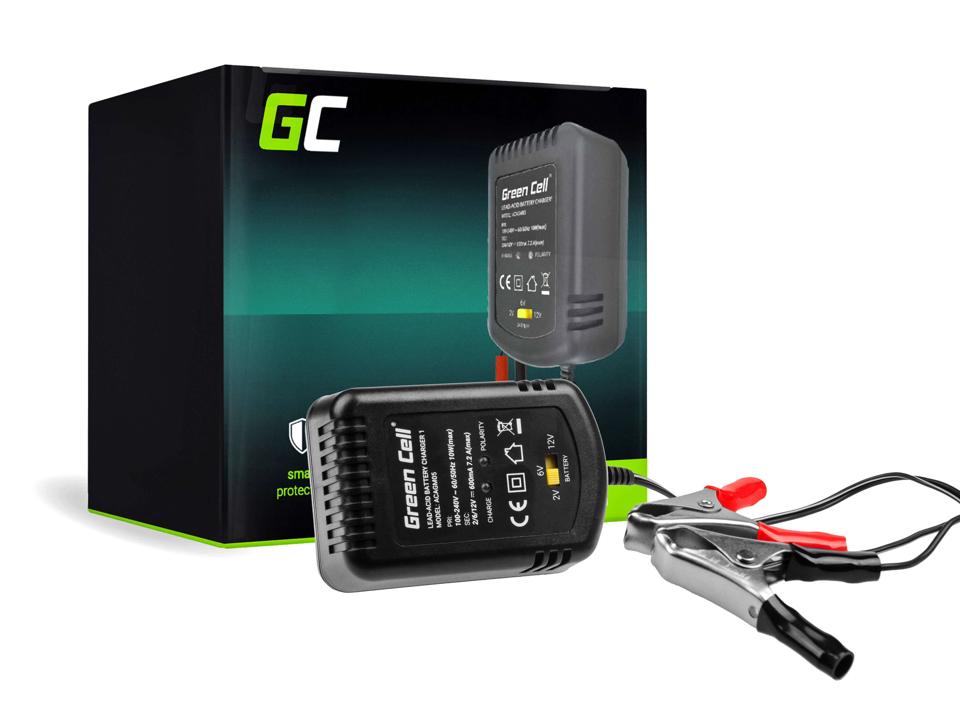 Green Cell Nabíječka pro Akumulátory 2V / 6V / 12V (0.6A)