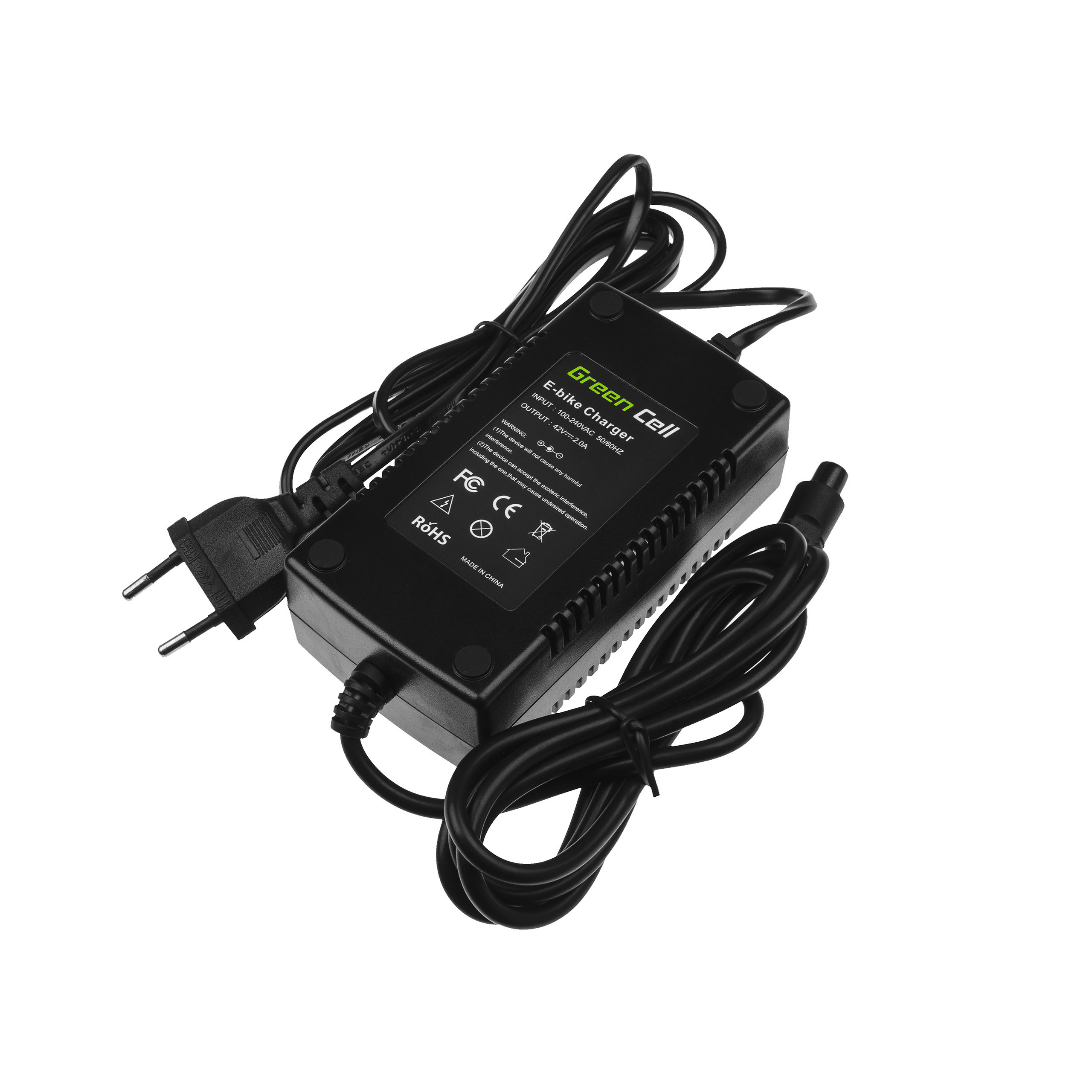 Green Cell Charger 42V 2A (3 pin) for EBIKE batteries 36V
