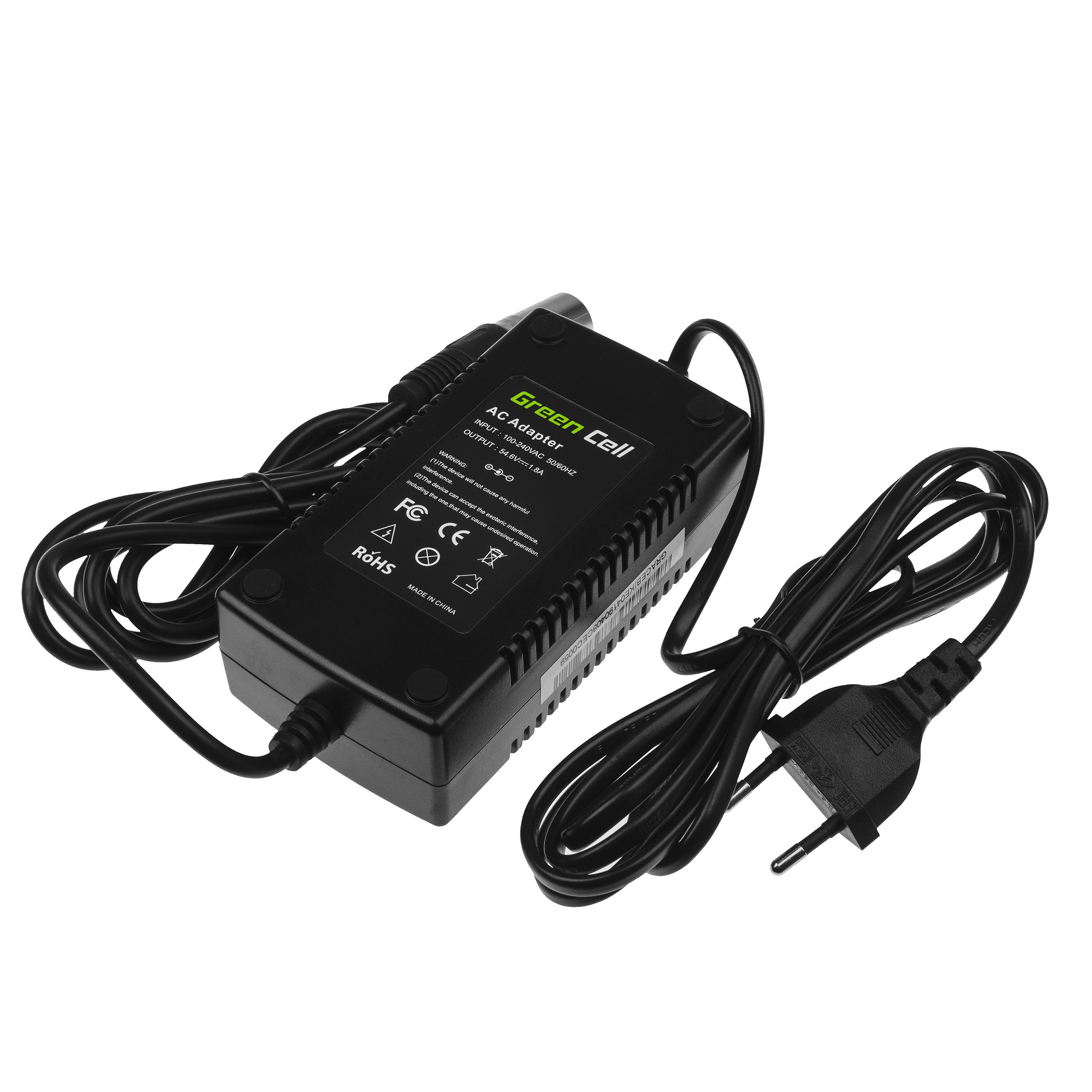 Green Cell Charger 54.6V 1.8A (Cannon) for EBIKE batteries 48V