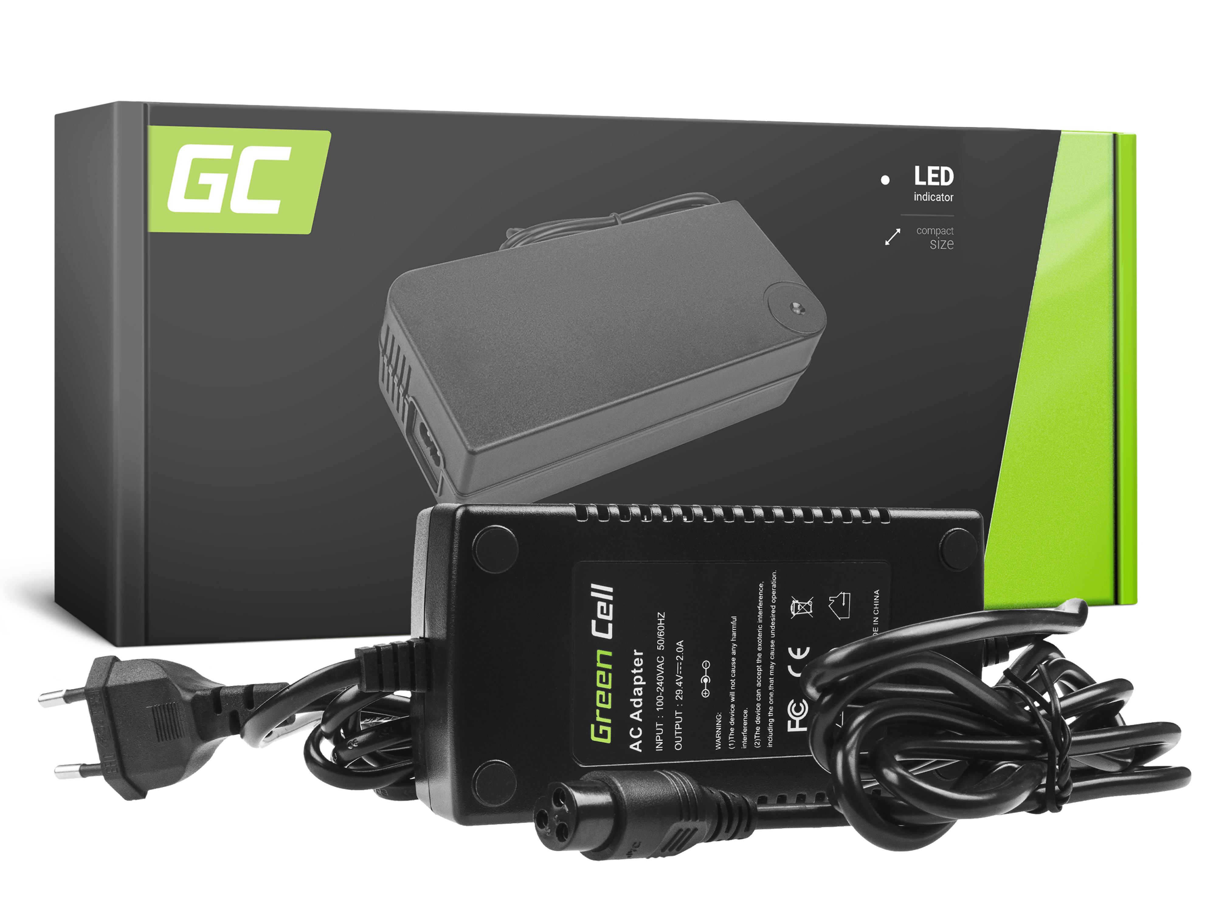 Green Cell Charger 29.4V 2A (3 pin) for EBIKE batteries 24V