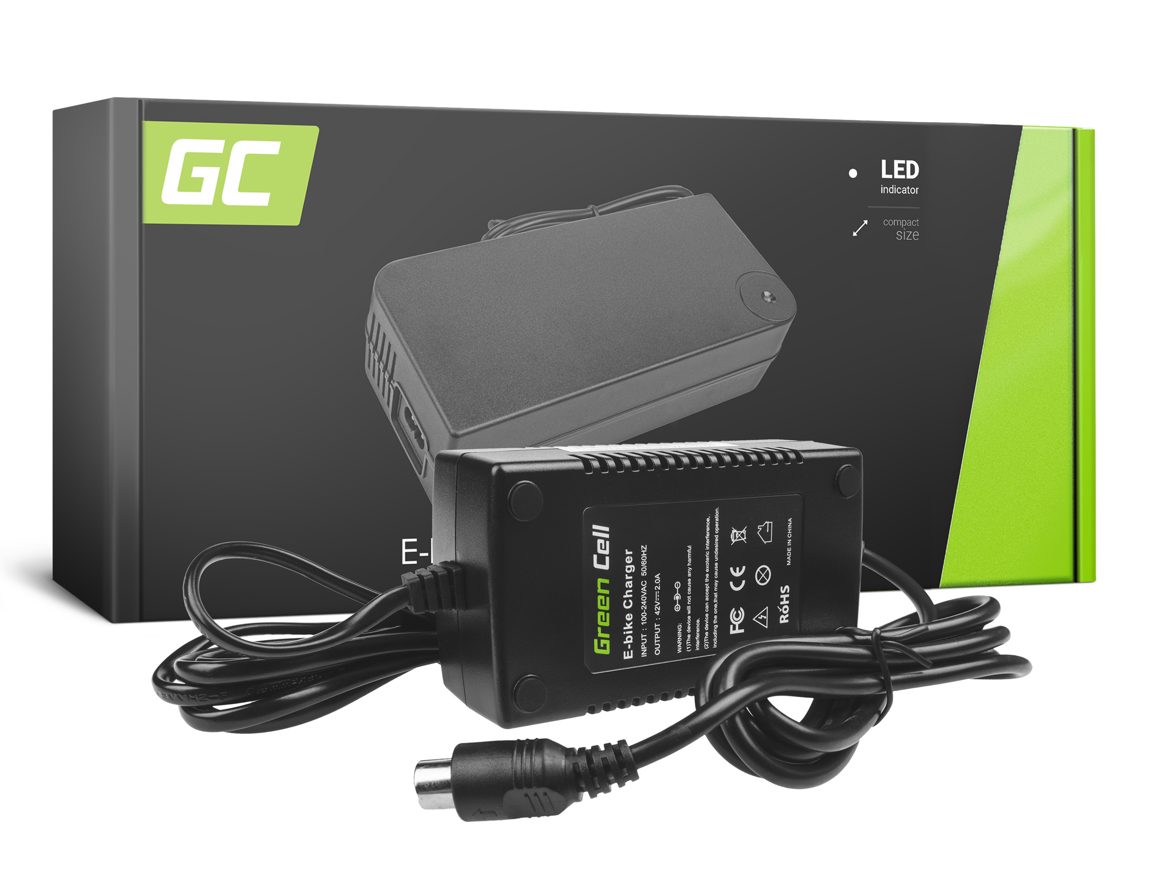 Green Cell Charger 42V 2A (RCA) for EBIKE batteries 36V