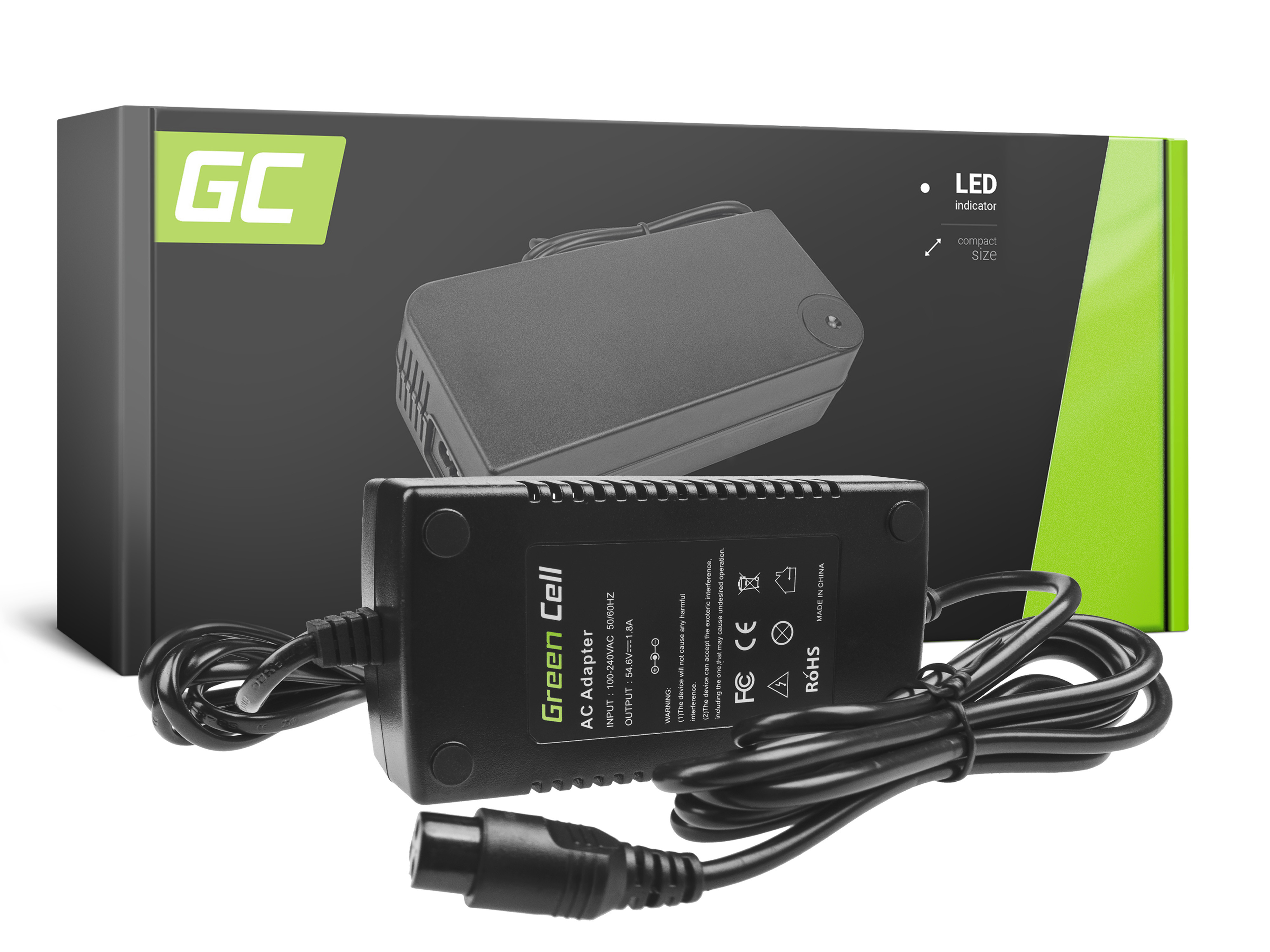 Green Cell Charger 54.6V 1.8A (3 pin) for EBIKE batteries 48V