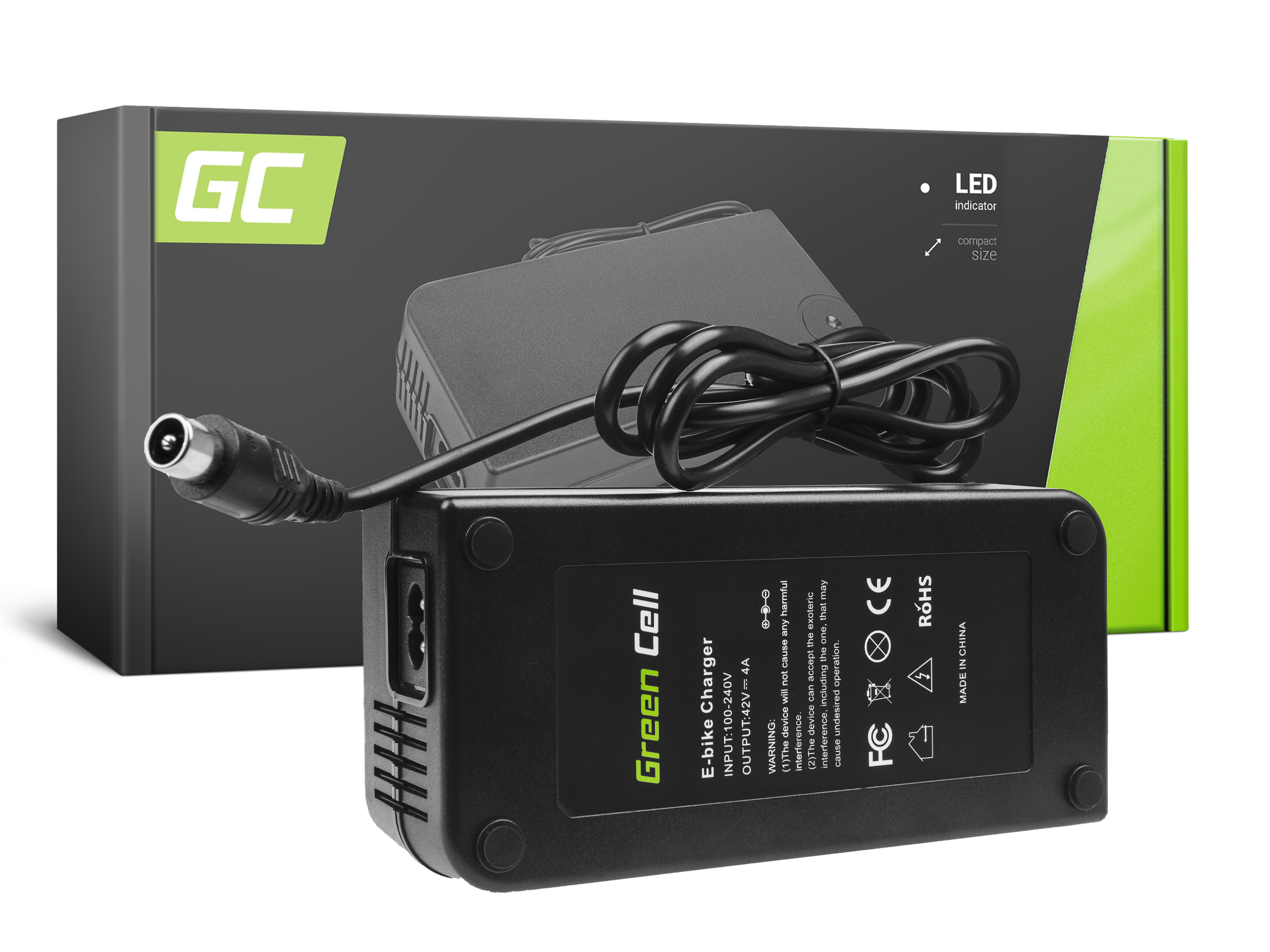 Green Cell Charger 42V 4A (RCA) for EBIKE batteries 36V