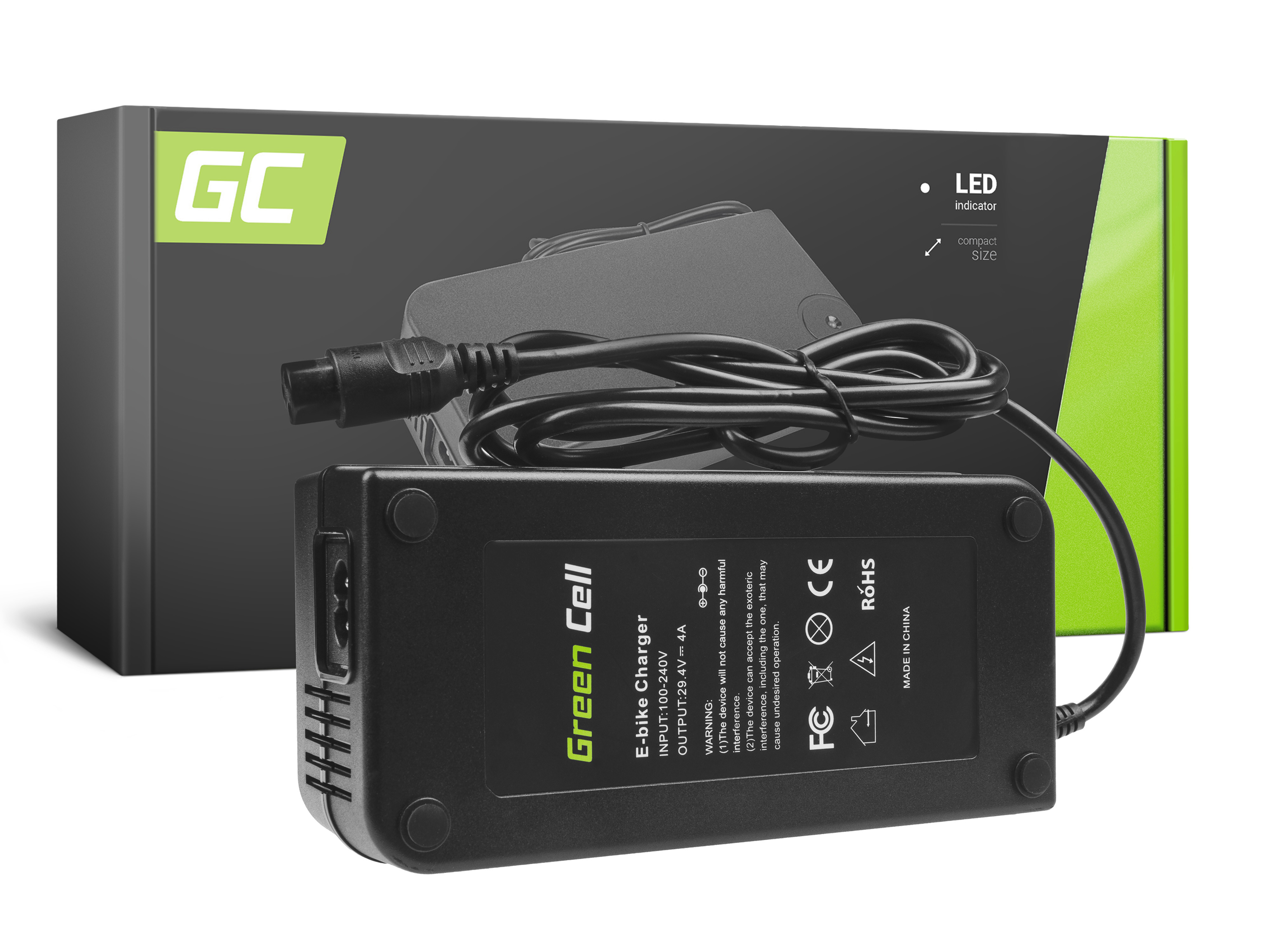 Green Cell Charger 29.4V 4A (3 pin) for EBIKE batteries 24V