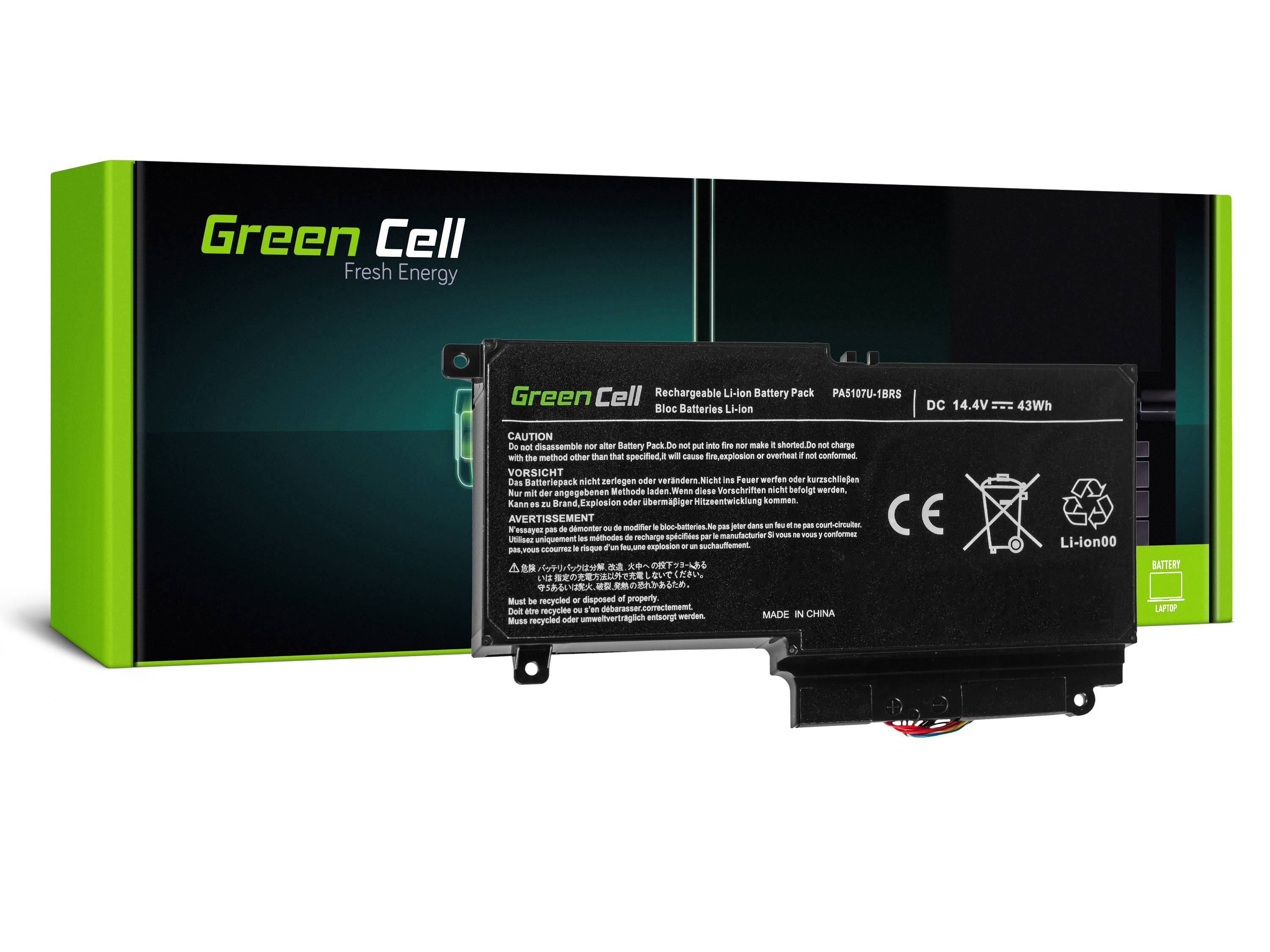 Green Cell Battery for Toshiba Satellite L50-A L50-A-19N L50-A-1EK L50-A-1F8 L50D-A P50-A S50-A / 14,4V 2838mAh