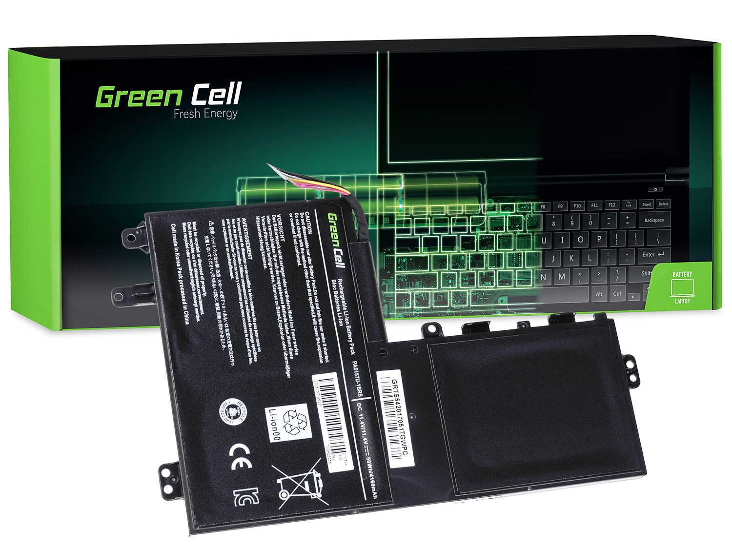 Green Cell Battery for Toshiba Satellite U940 U40t U50t M50-A M50D-A M50Dt M50t / 11,4V 4160mAh