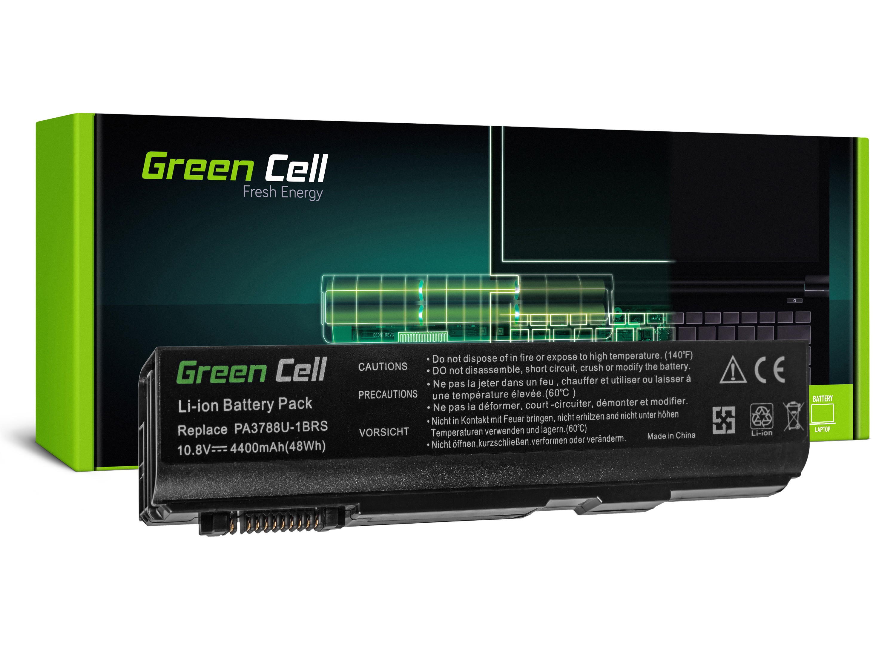 Green Cell Battery for Toshiba DynaBook Satellite L35 L40 L45 K40 B550 Tecra M11 A11 S11 S500 / 11,1V 4400mAh