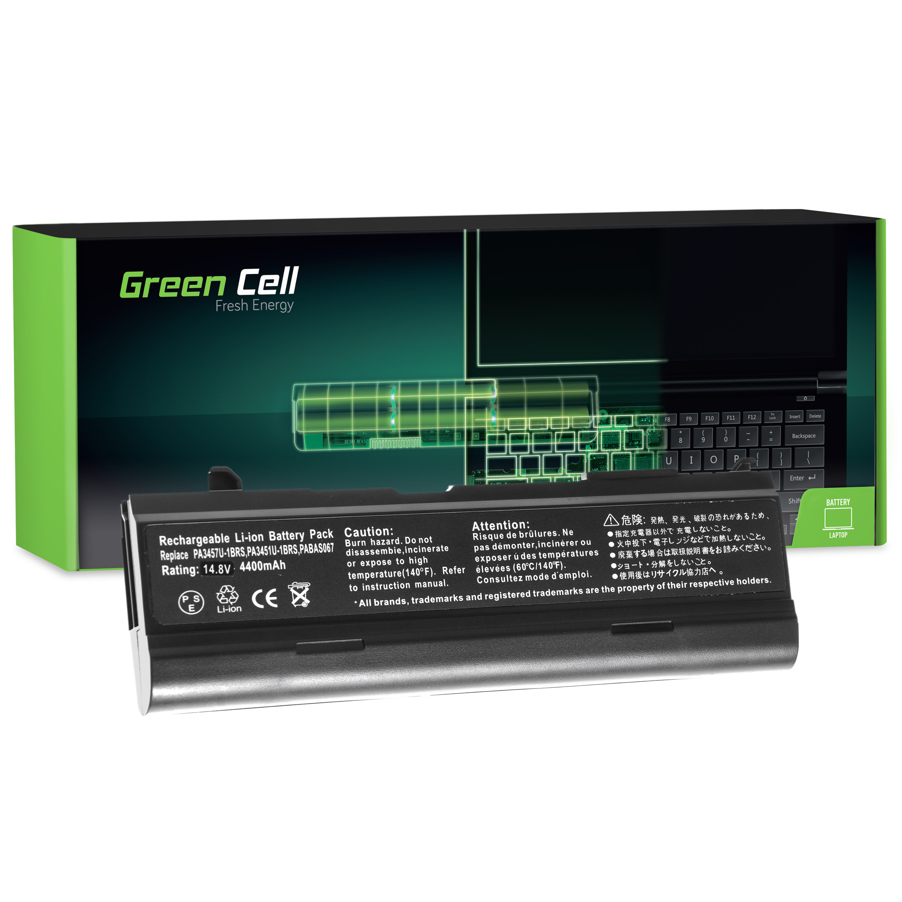 Green Cell Battery for Toshiba Satellite A85 A110 A135 M40 M50 M70 / 14,4V 4400mAh