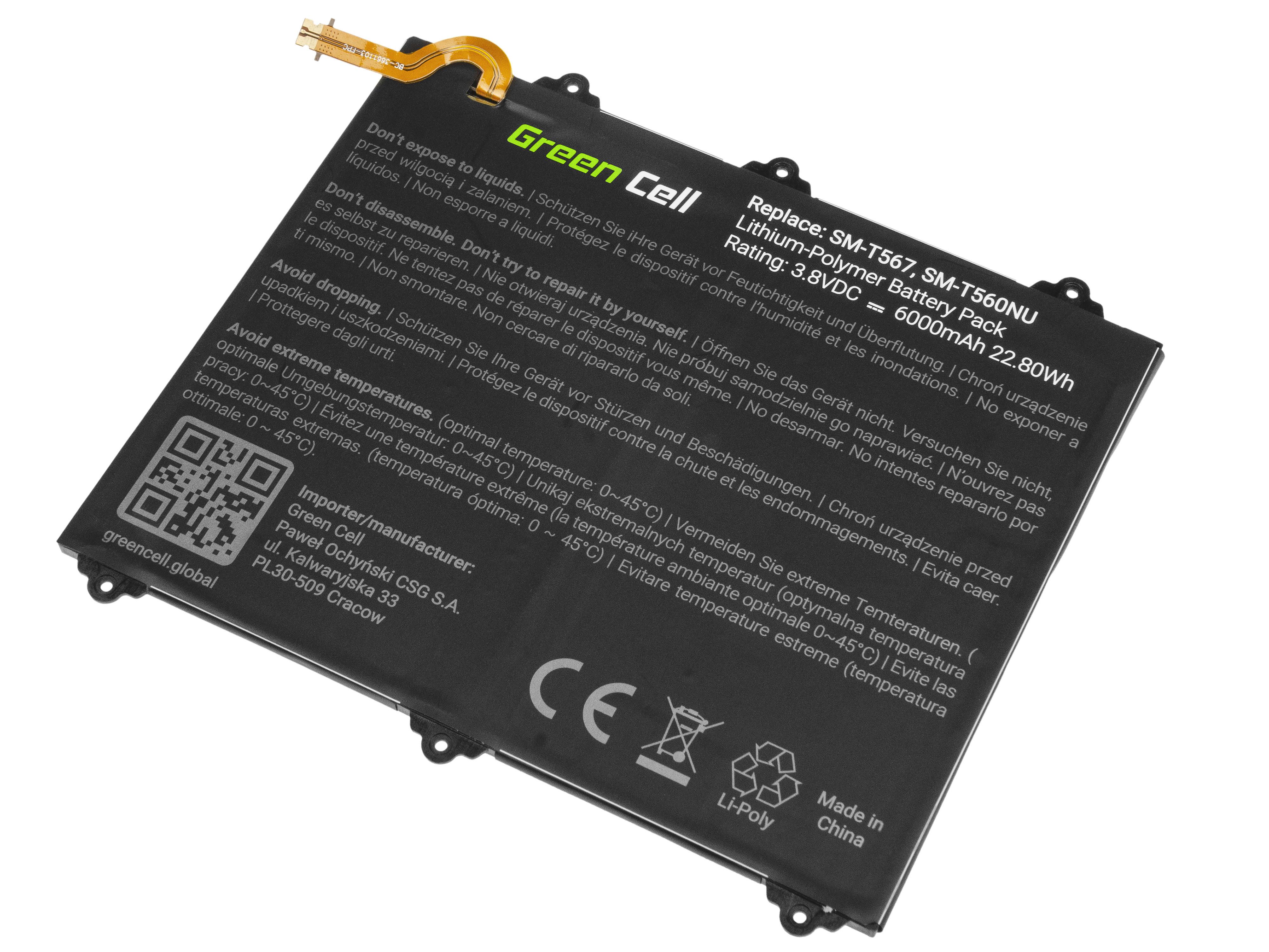 Green Cell Tablet Battery EB-BT567ABA Samsung Galaxy Tab E 9.6 T560 T561