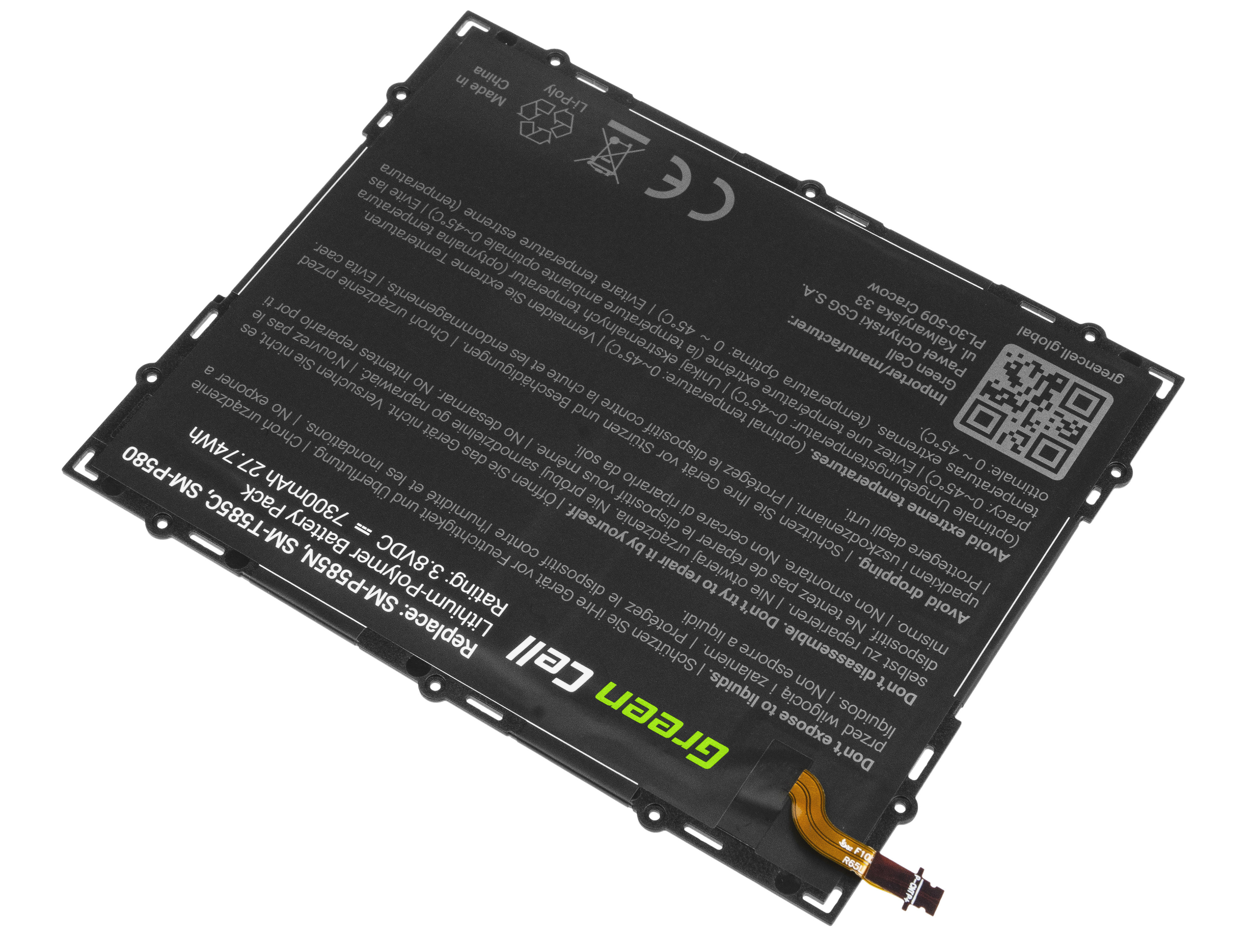 Green Cell Tablet Battery EB-BT585ABA Samsung Galaxy Tab A 10.1 T580 T585