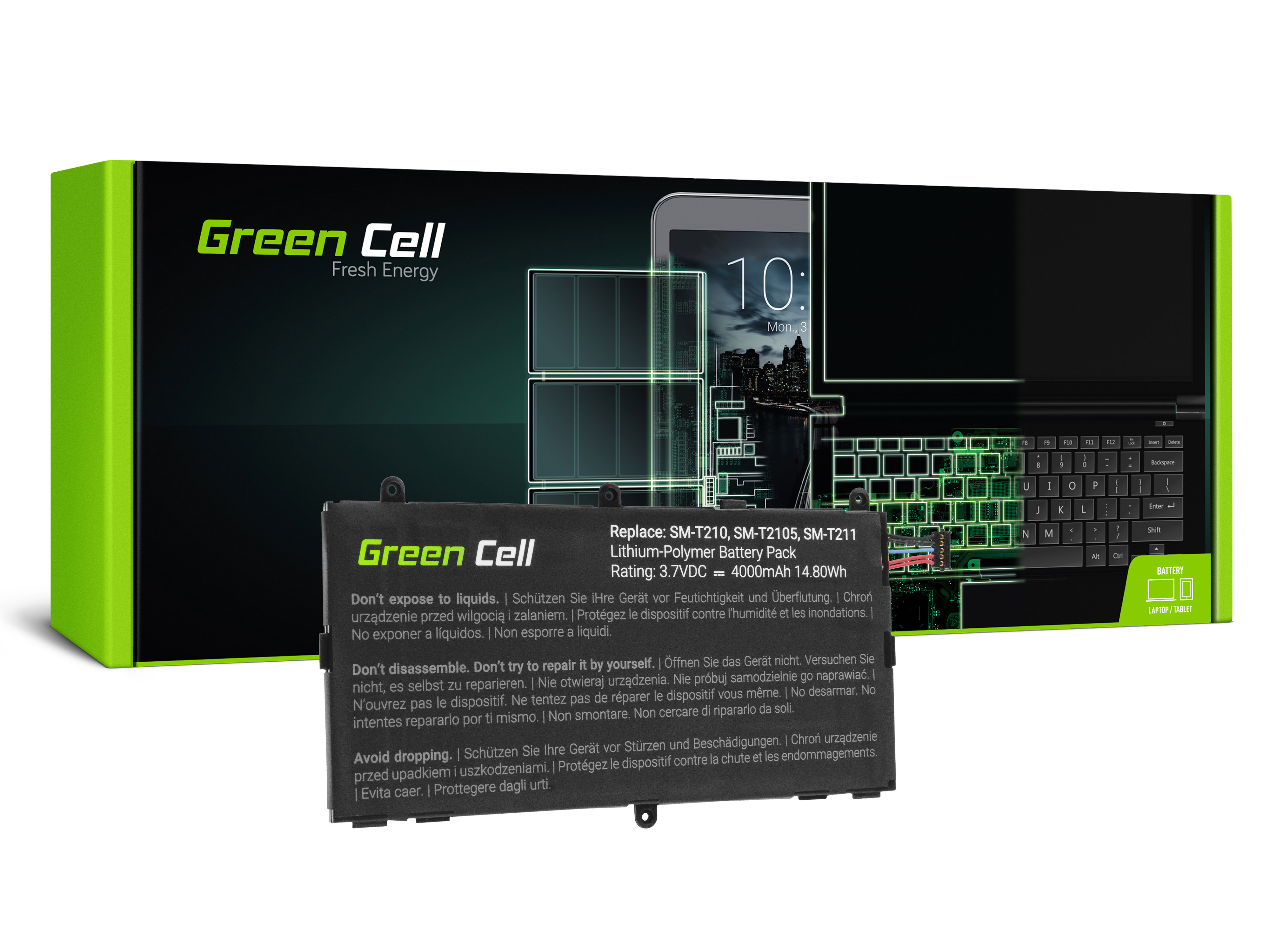 Green Cell TAB36 Baterie Samsung T4000E pro Samsung Galaxy Tab 3 7.0 P3200 T210 T211 4000mAh Li-Pol – neoriginální