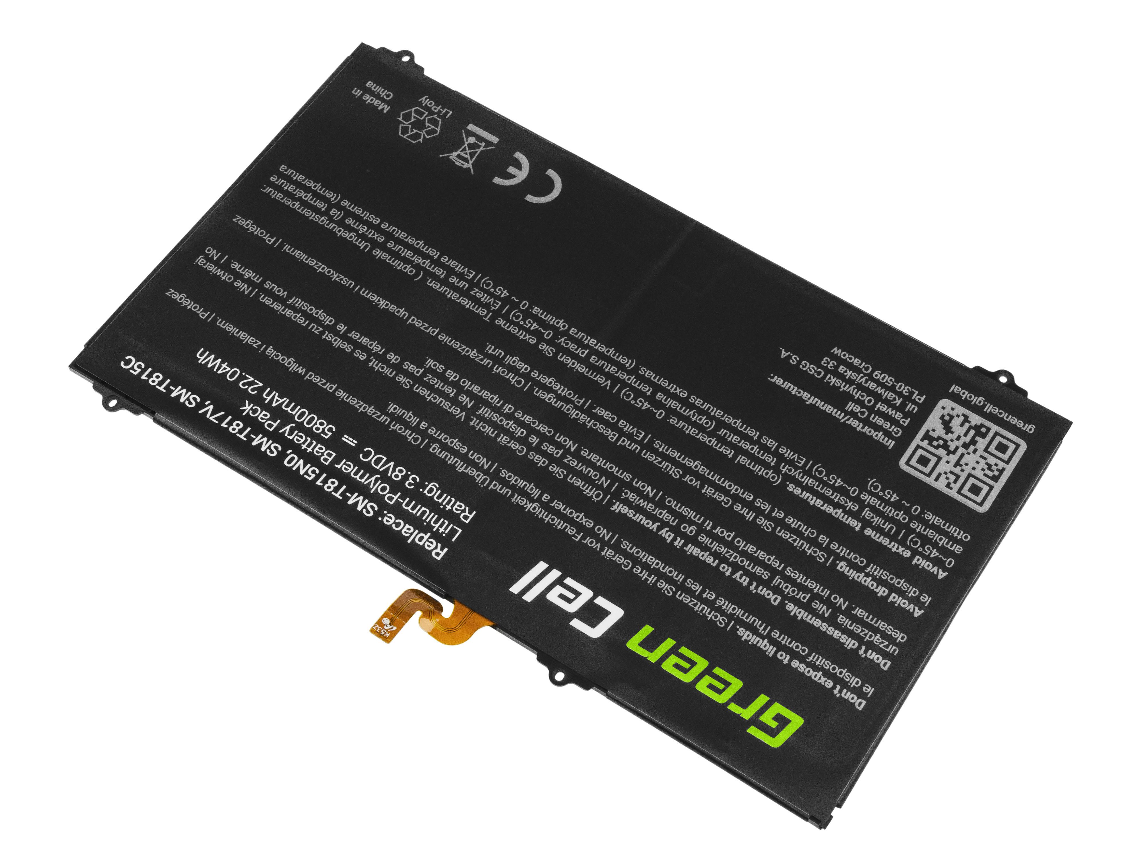 Green Cell TAB39 Baterie Samsung EB-BT810ABA EB-BT810ABE pro Samsung Galaxy Tab S2 9.7 T810 T813 T815 T819 5800mAh Li-Pol – neoriginální