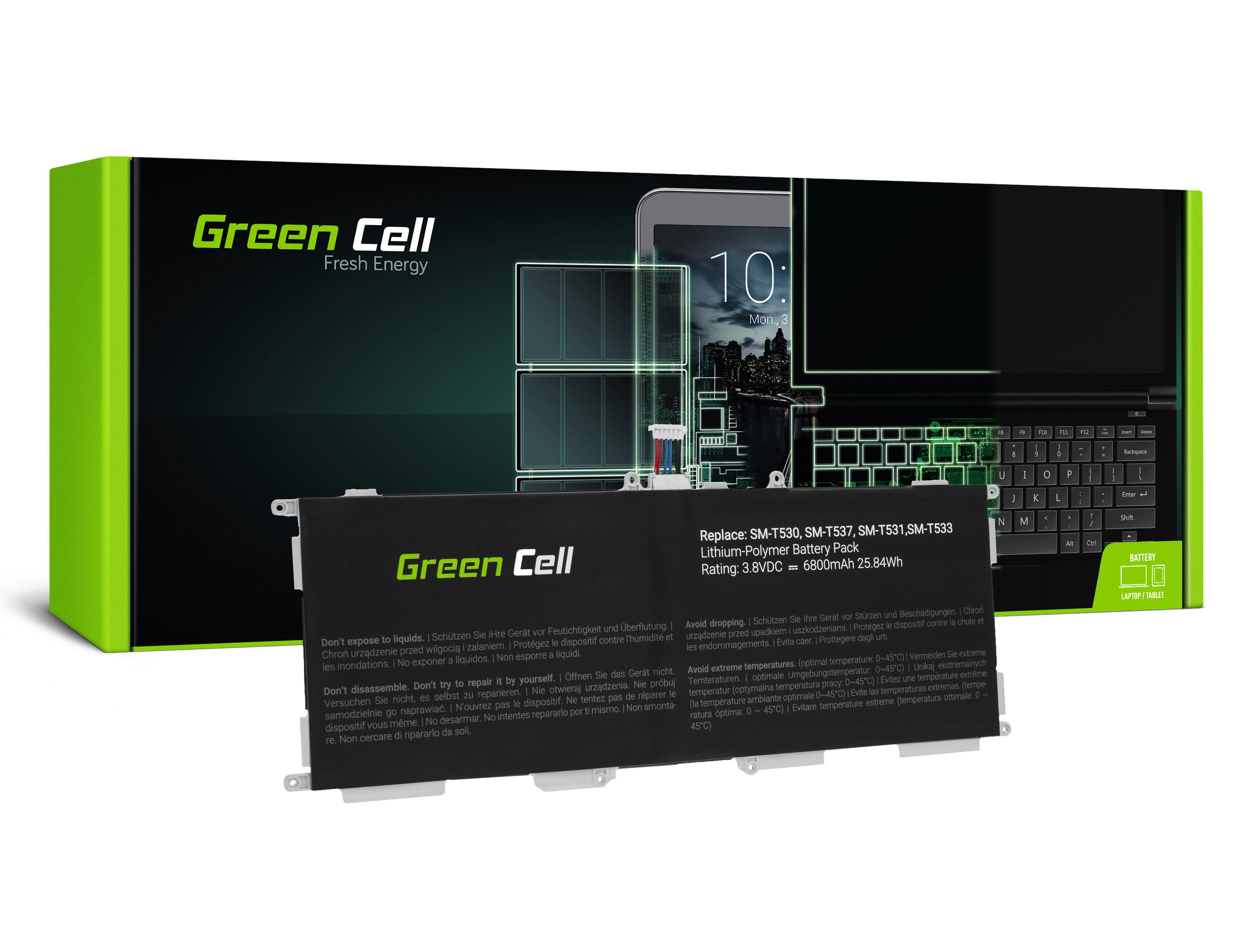 Green Cell TAB40 Baterie Samsung EB-BT530FBE EB-BT530FBU pro Samsung Galaxy Tab 4 10.1 T530 T531 T533 T535 SM-T530 SM-T531 SM-T533 SM-T535 6800mAh Li-Pol – neoriginální