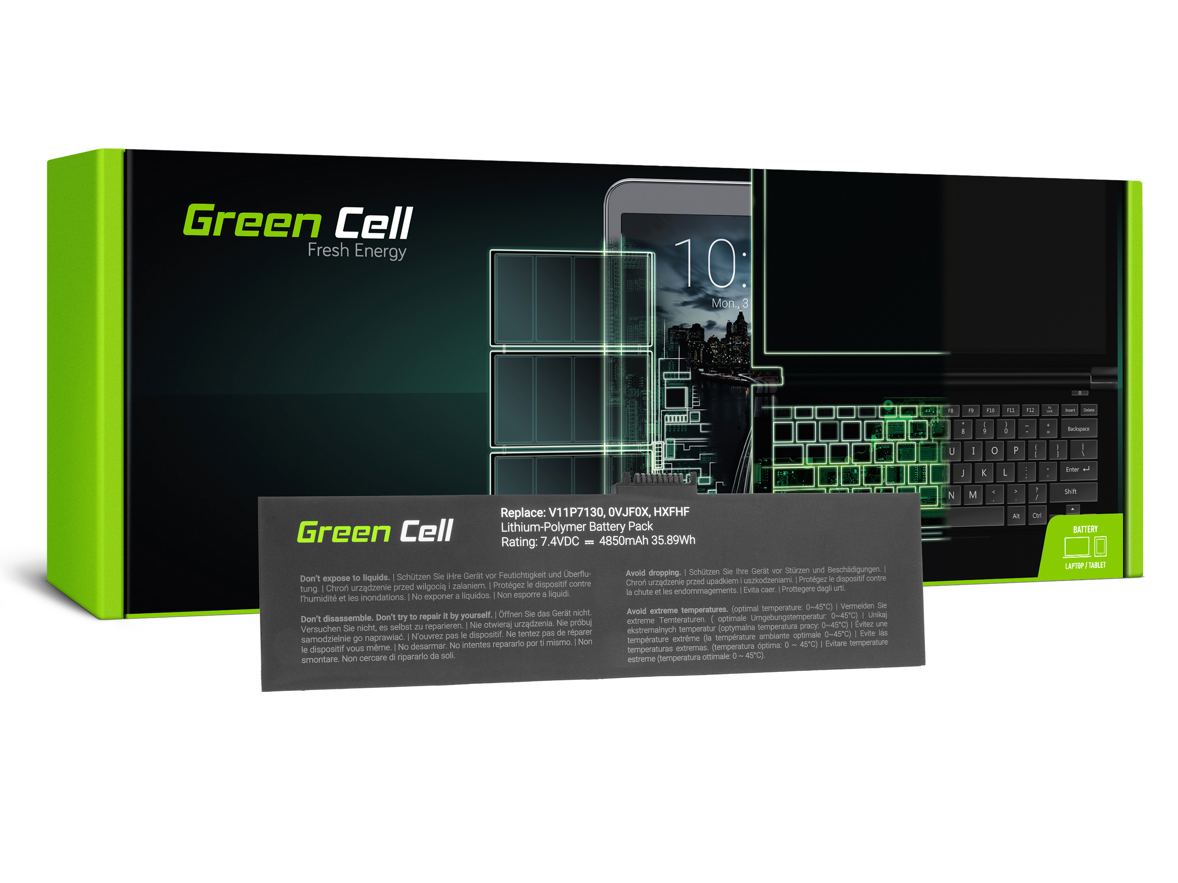 Green Cell Tablet Battery HXFHF Dell Venue 11 Pro 7000 7130 7139