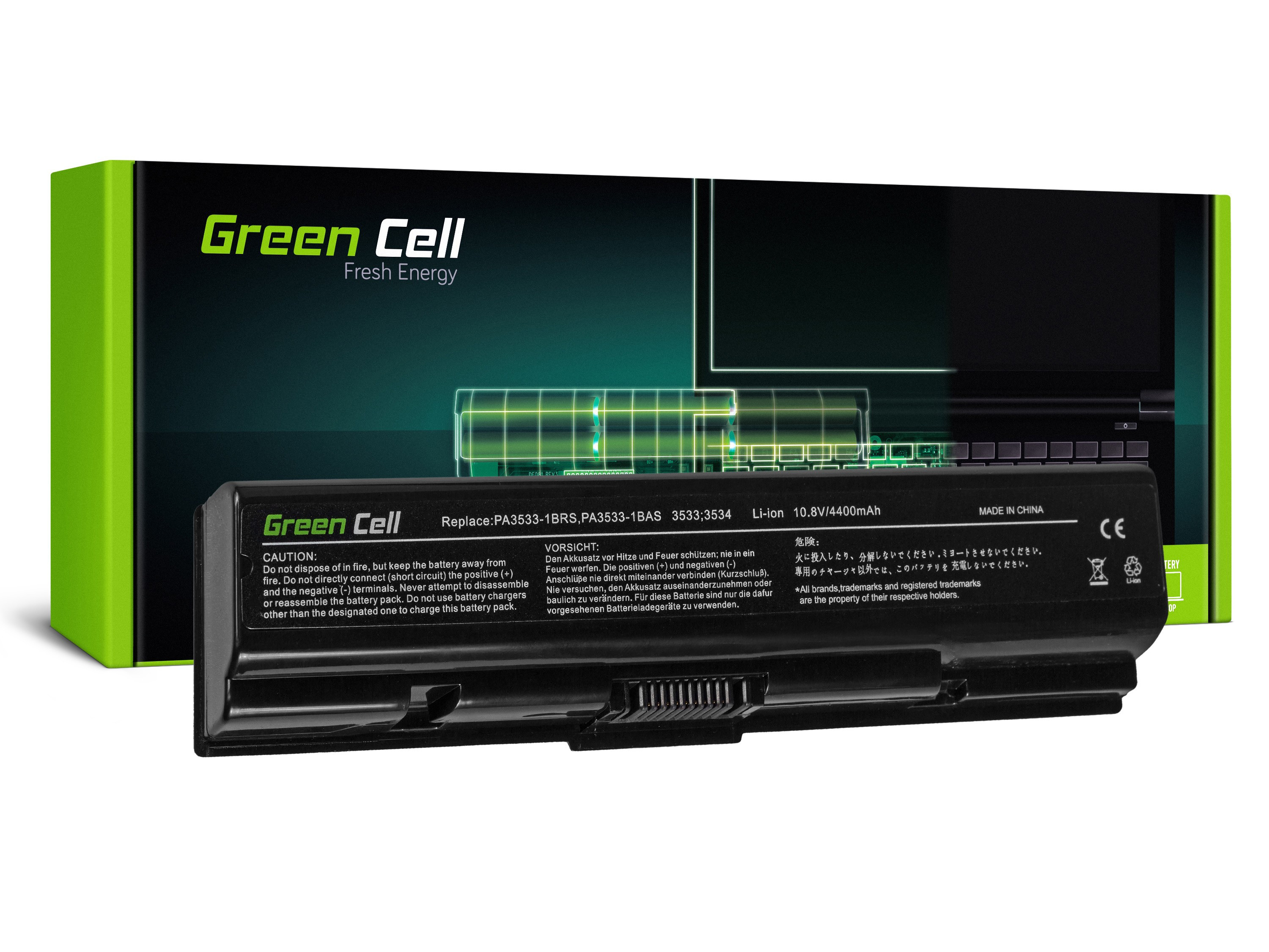 Green Cell Battery for Toshiba Satellite A200 A300 A500 L200 L300 L500 / 11,1V 4400mAh