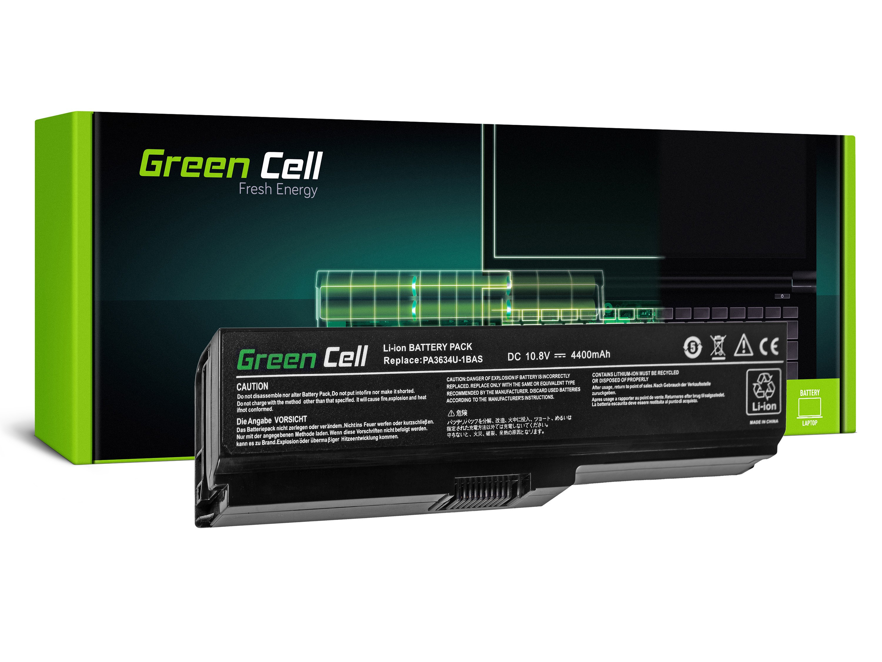 Green Cell TS03V2 Baterie Toshiba Satellite A660 C650 C660 C660D L650 L650D L655 L670 L670D L675 4400mAh Li-ion - neoriginální