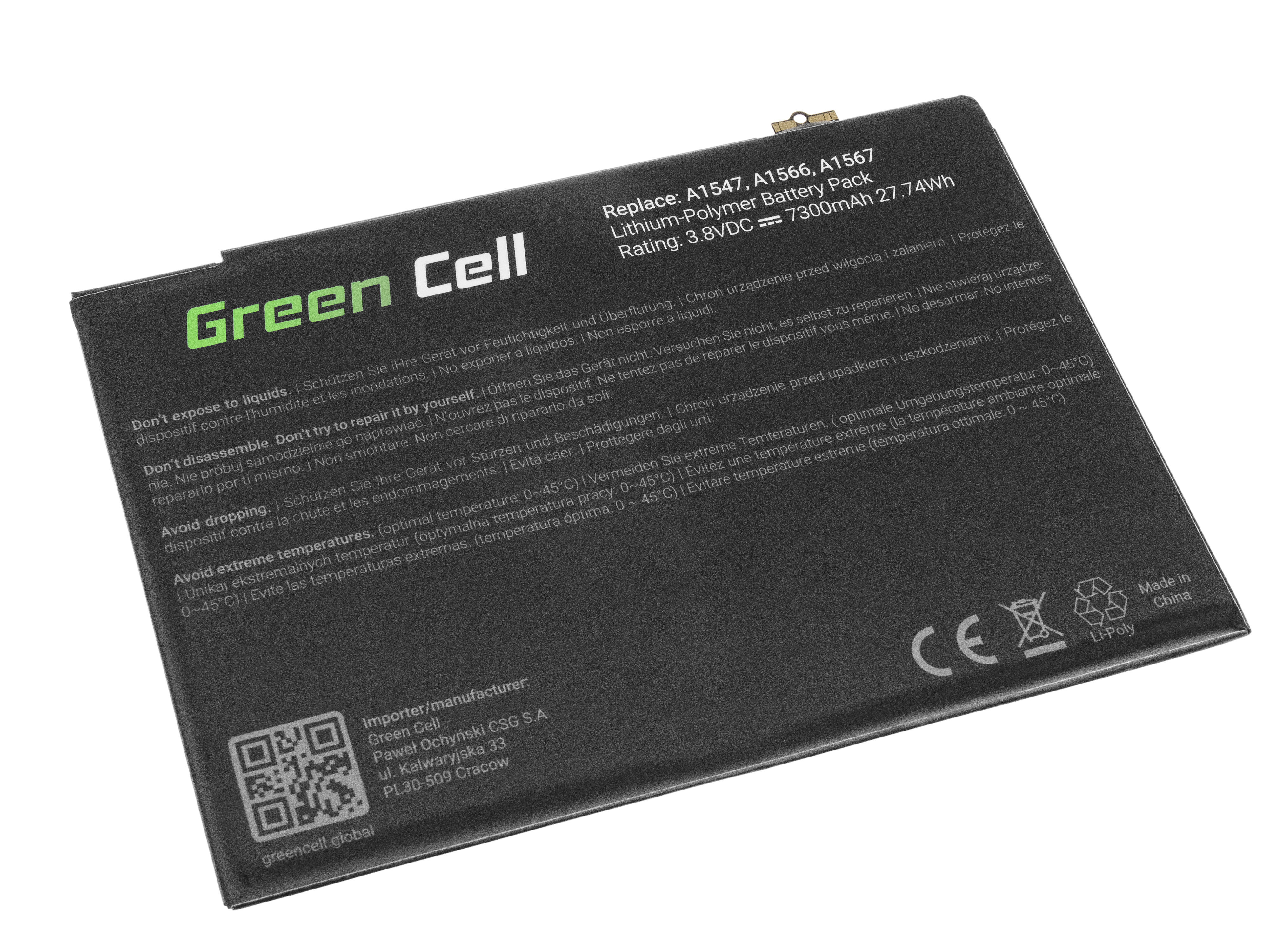 Green Cell TAB16 Baterie Apple A1547 pro Apple iPad Air 2 A1566 A1567 7300mAh Li-Pol – neoriginální