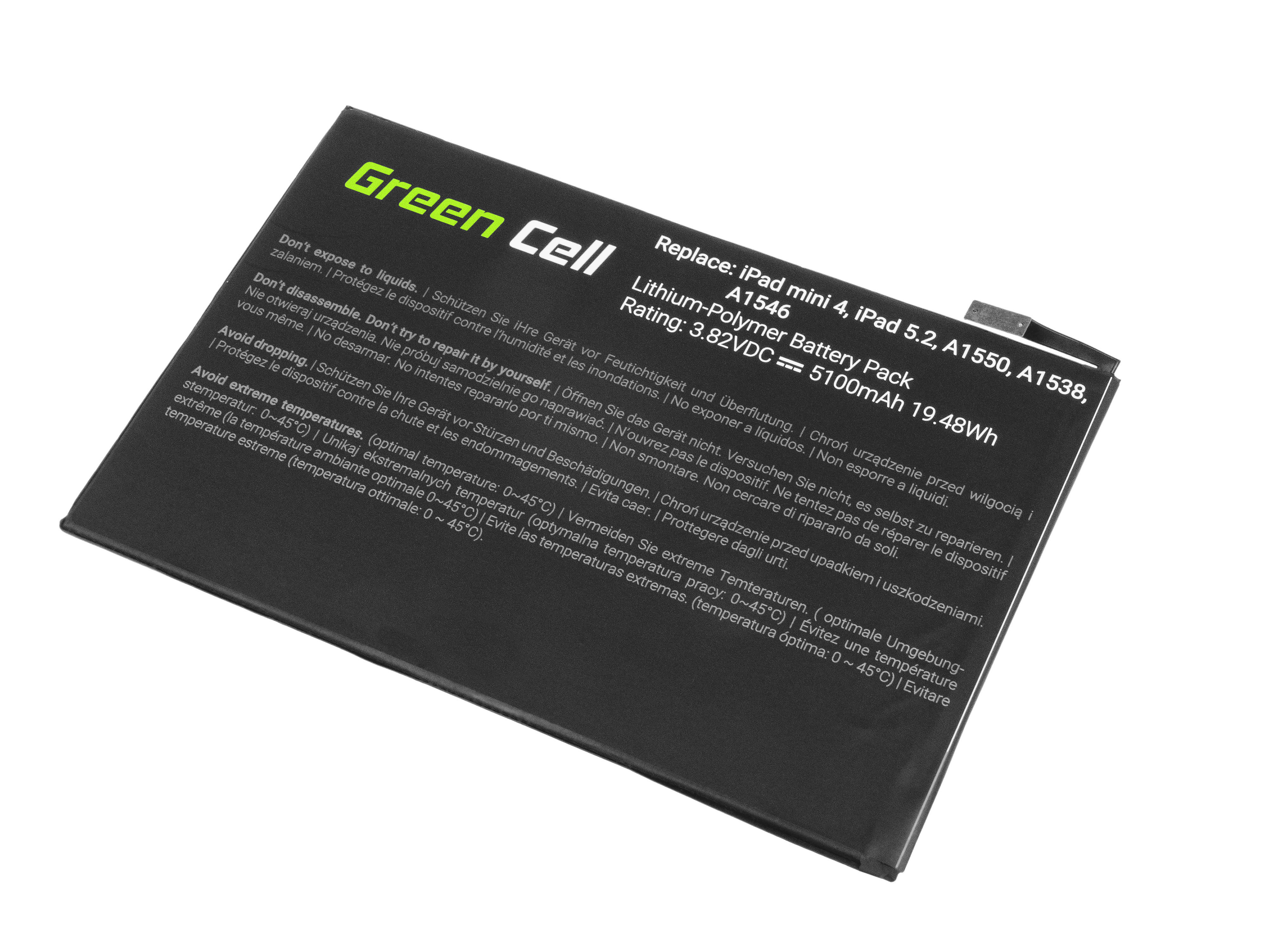 Green Cell TAB19 Baterie Apple A1546 pro Apple iPad Mini 4 A1538 A1550 5100mAh Li-Pol – neoriginální