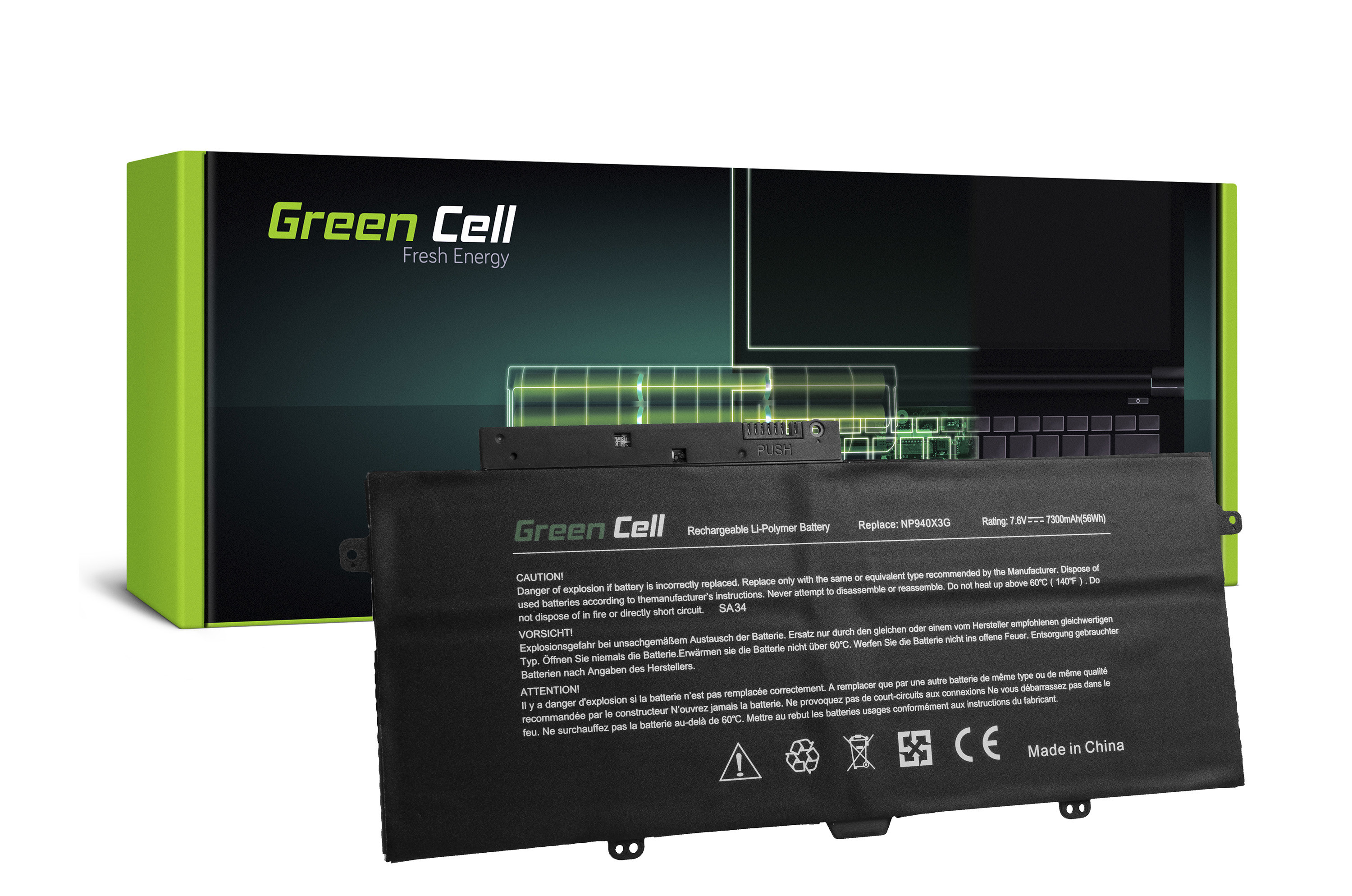Green Cell Battery for Samsung ATIV Book 9 Plus 940X3G NP940X3G / 7,6V 7300mAh