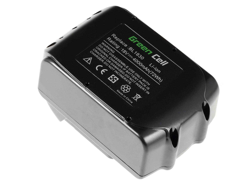 Green Cell Power Tool Battery for Makita BL1830 194204-5 18V 4Ah