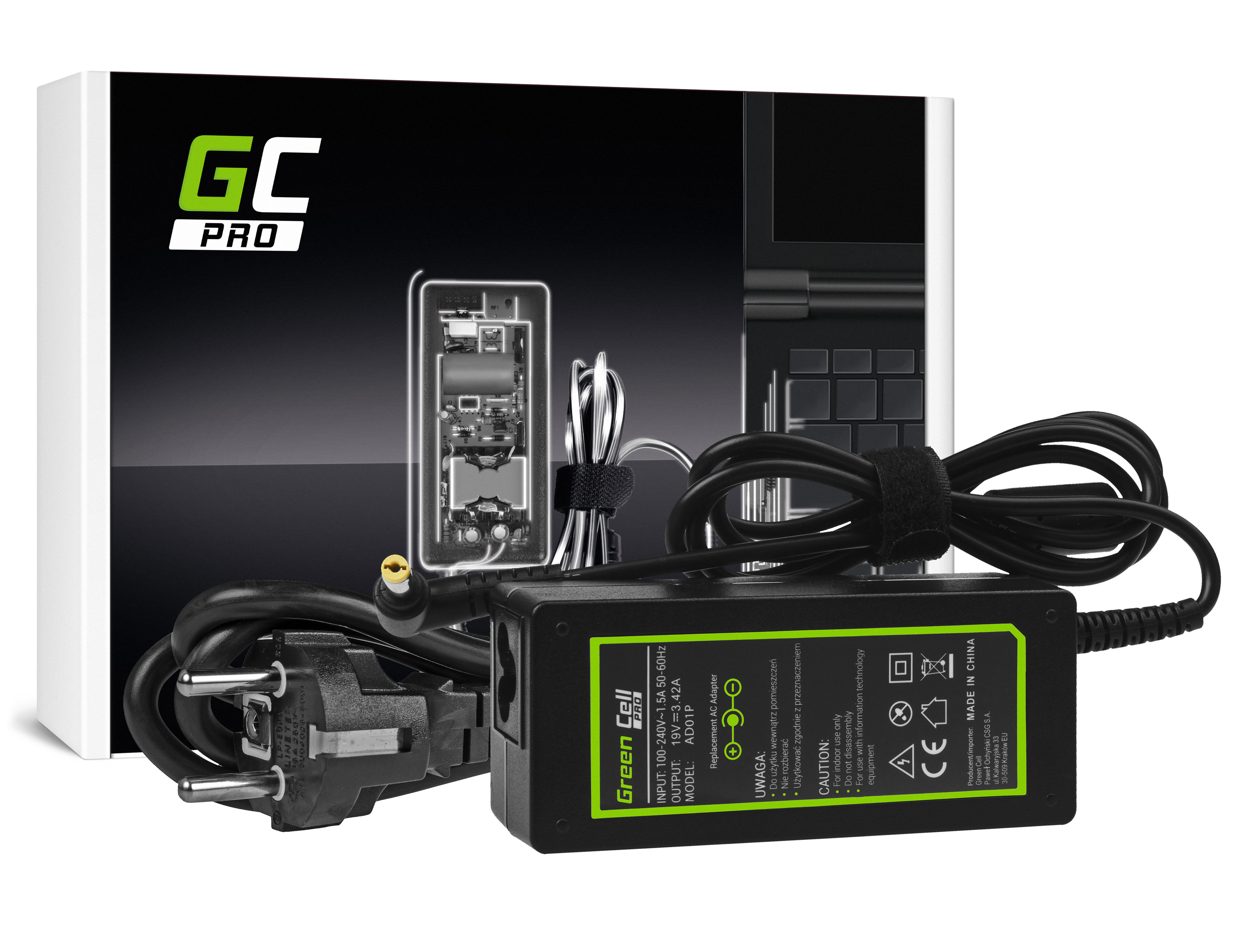 Green Cell PRO Charger  AC Adapter for Acer 60W / 19V 3.42A / 5.5mm-1.7mm