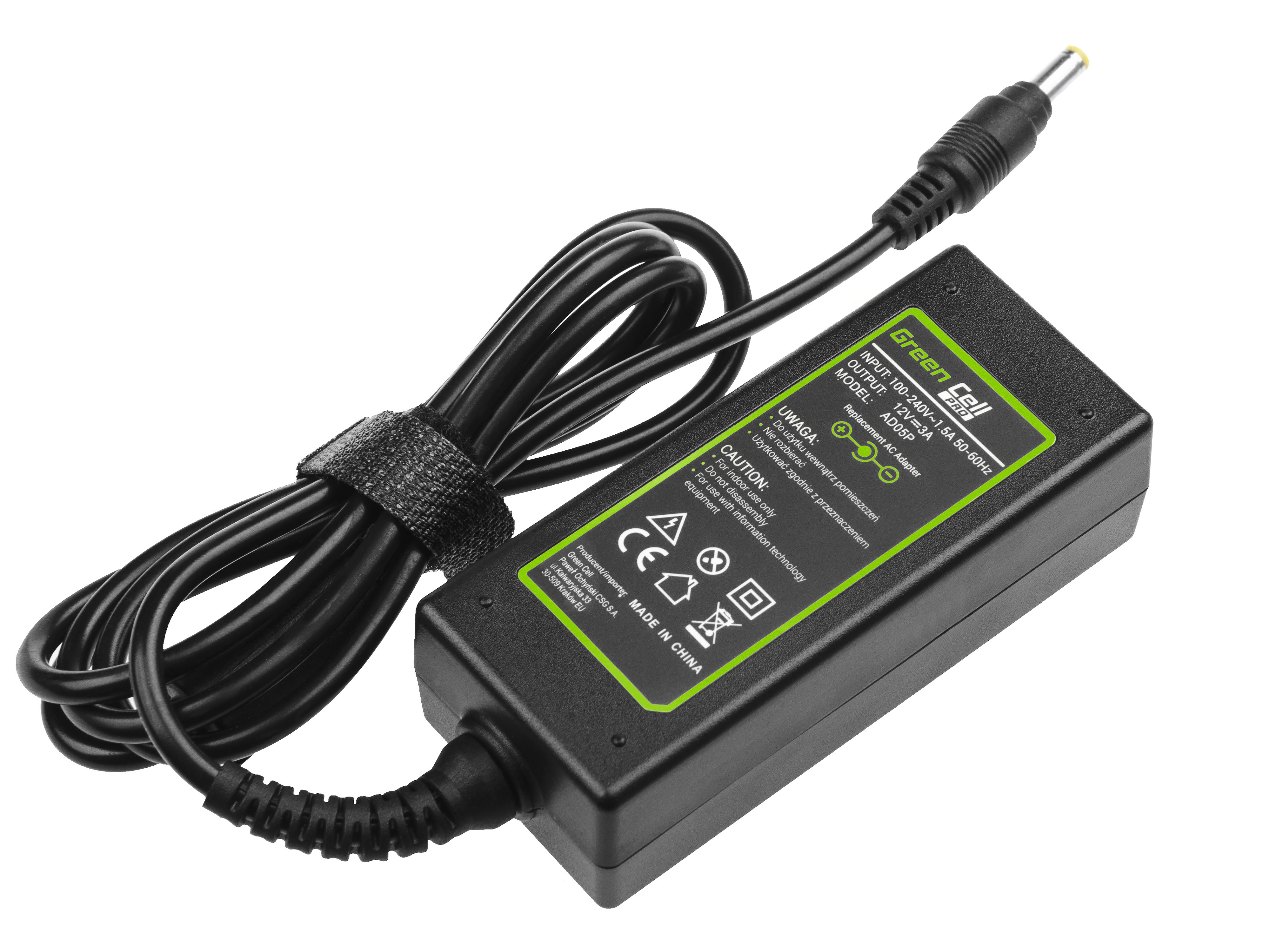 Green Cell AD05P Adaptér Nabíječka pro Asus Eee PC 901 904 1000 1000H 1000HA 1000HD 1000HE 12V 3A 36W