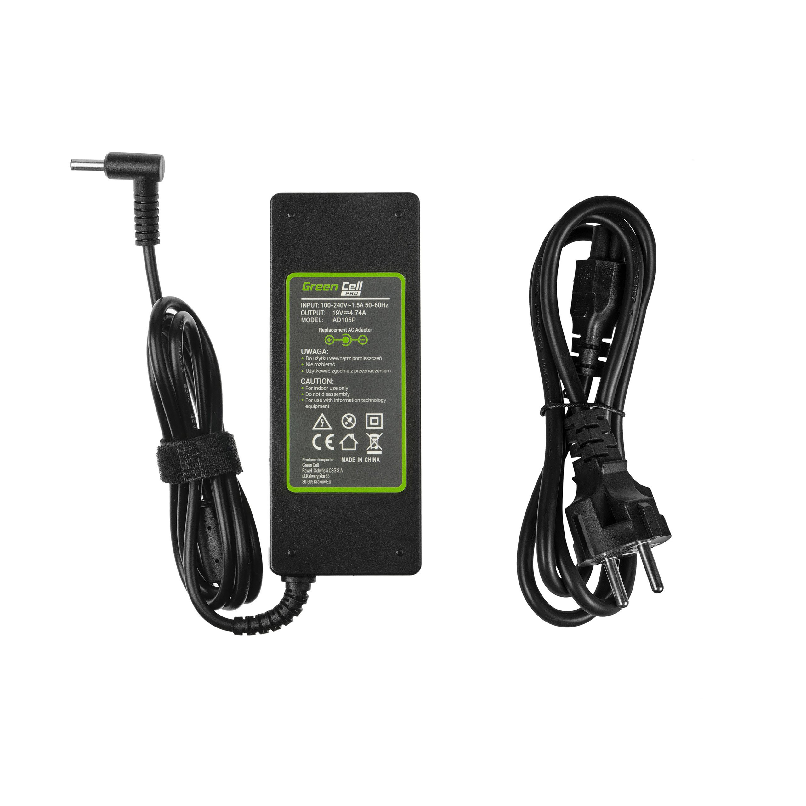 Green Cell PRO Charger AC Adapter 19V 4.74A 90W for AsusPRO B8430U P2440U P2520L P2540U P4540U P5430U Asus Zenbook UX51VZ