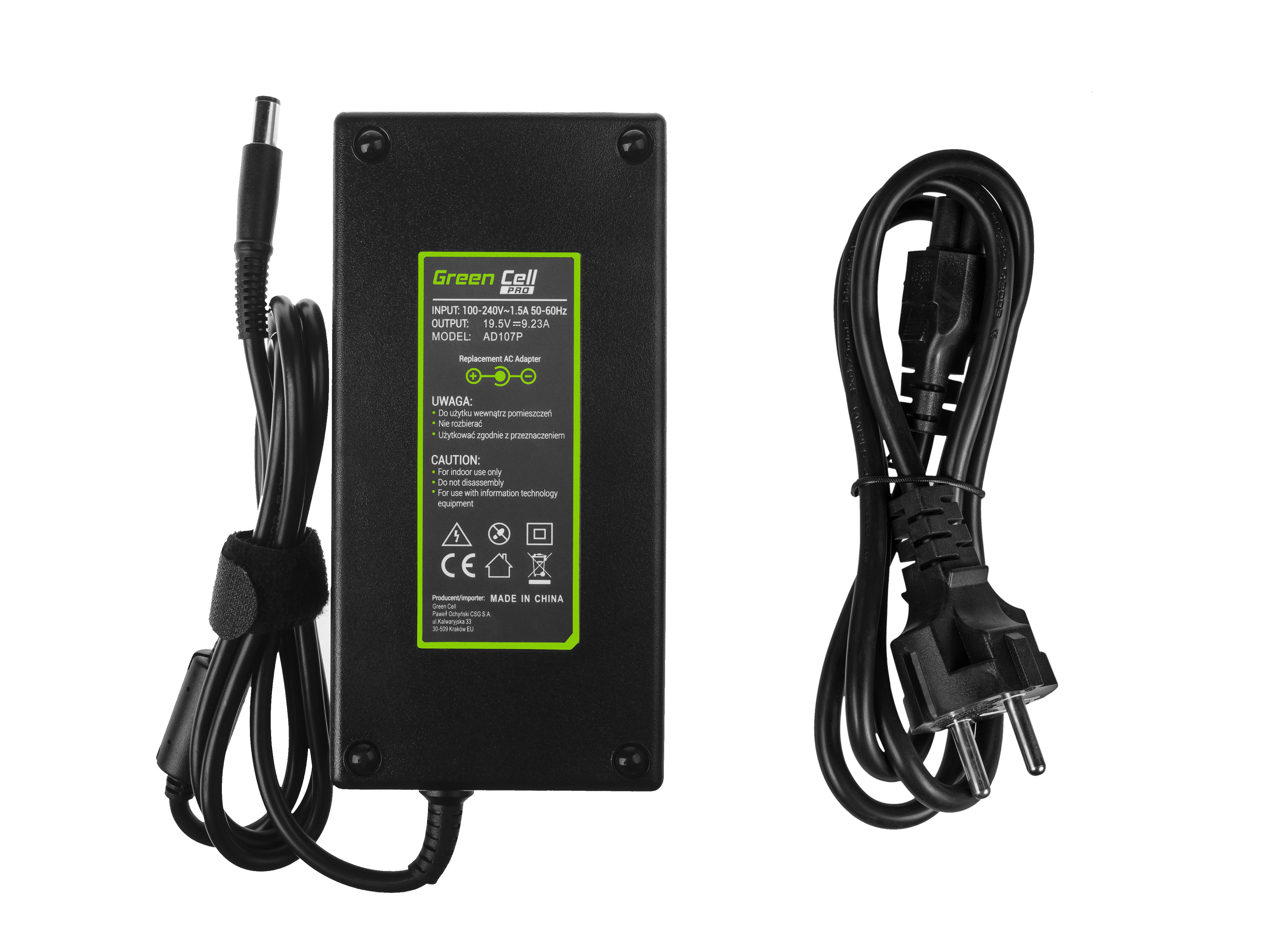 Green Cell PRO Charger  AC Adapter for Dell Latitude E5510 E7240 E7440 Alienware 13 14 15 M14x M15x R1 R2 R3 19.5V 9.23A 180W