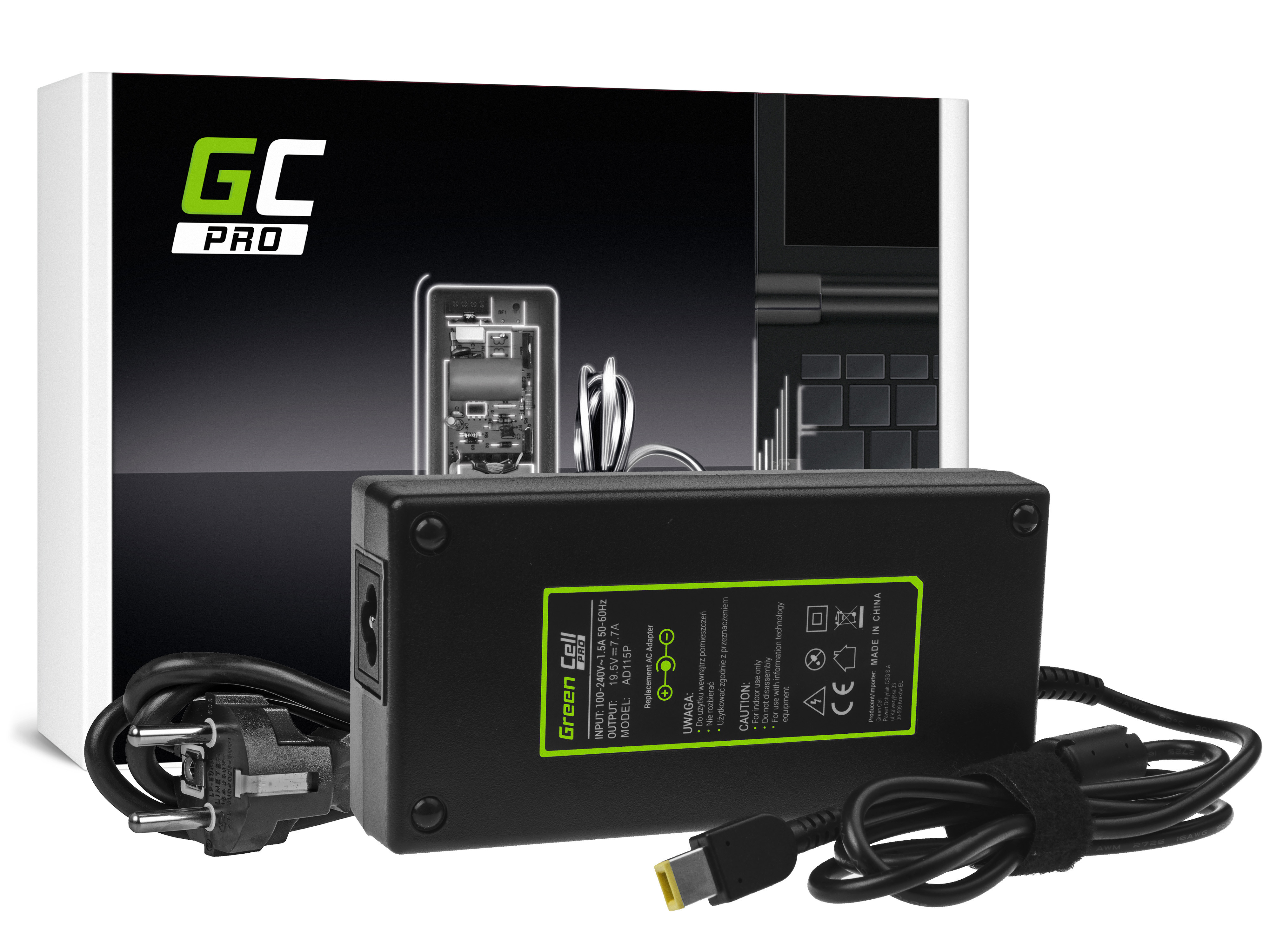 Green Cell AD115P Adaptér Nabíječka Lenovo Ideacentre 310-15ASR 310S-08ASR 520-27IKL 910-27ISH A540 A740 S40-40 19.5V 7.7A 150W