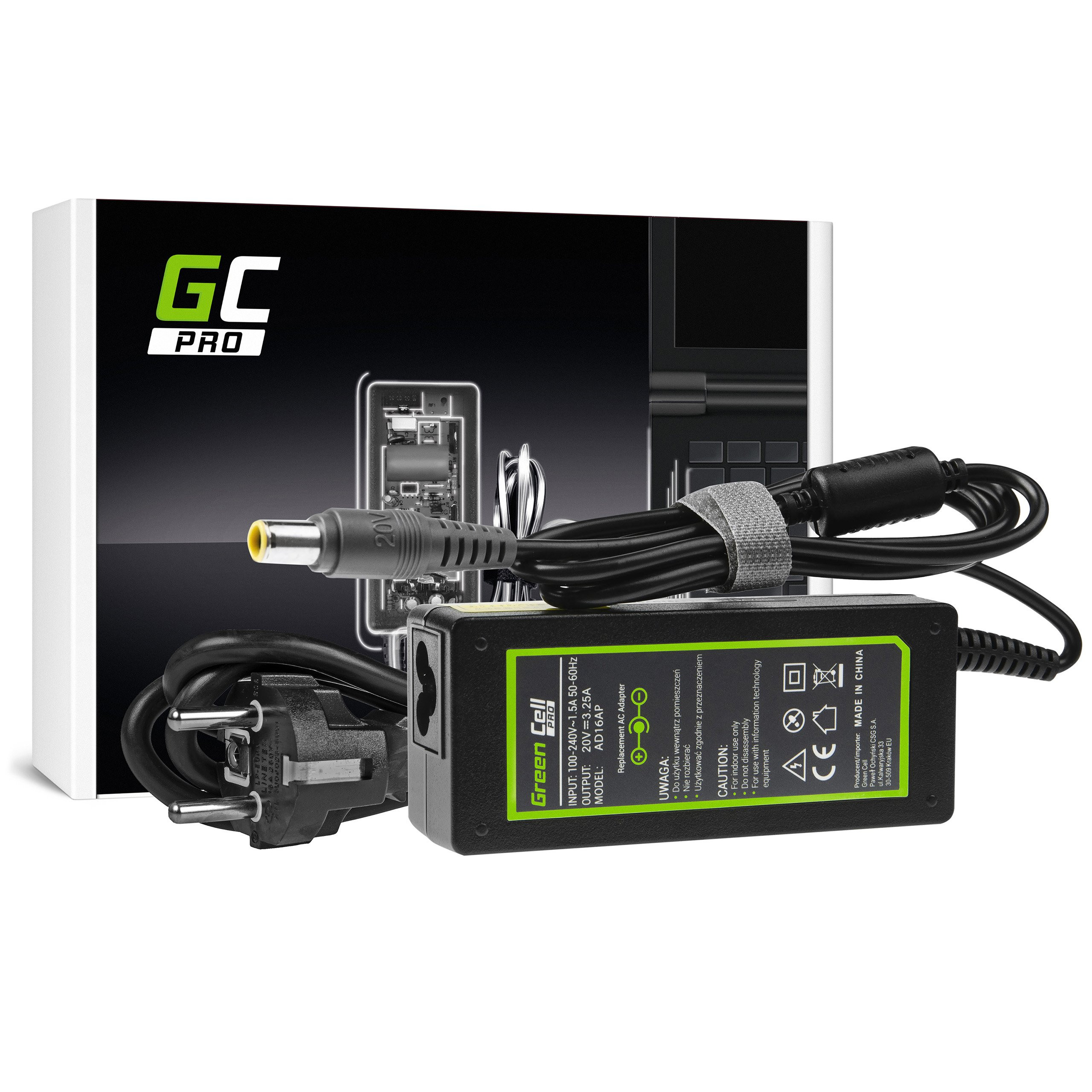 Green Cell PRO Charger AC Adapter 20V 3.25A 65W for Lenovo B590 ThinkPad R61 R500 T430 T430s T510 T520 T530 X200 X201 X220 X230
