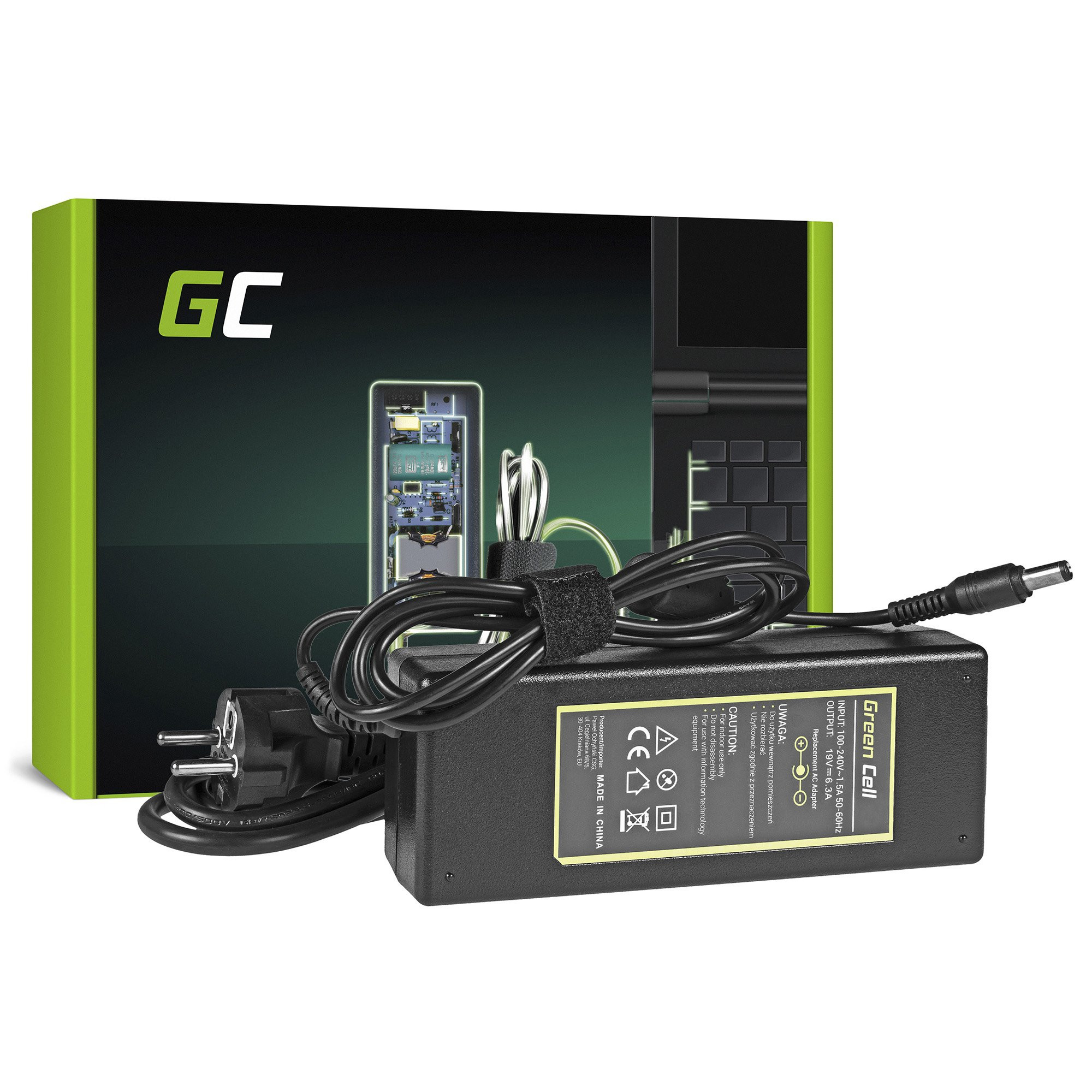 Green Cell Charger  AC Adapter for Toshiba 120W / 19V 6.3A / 6.3mm-3.0mm