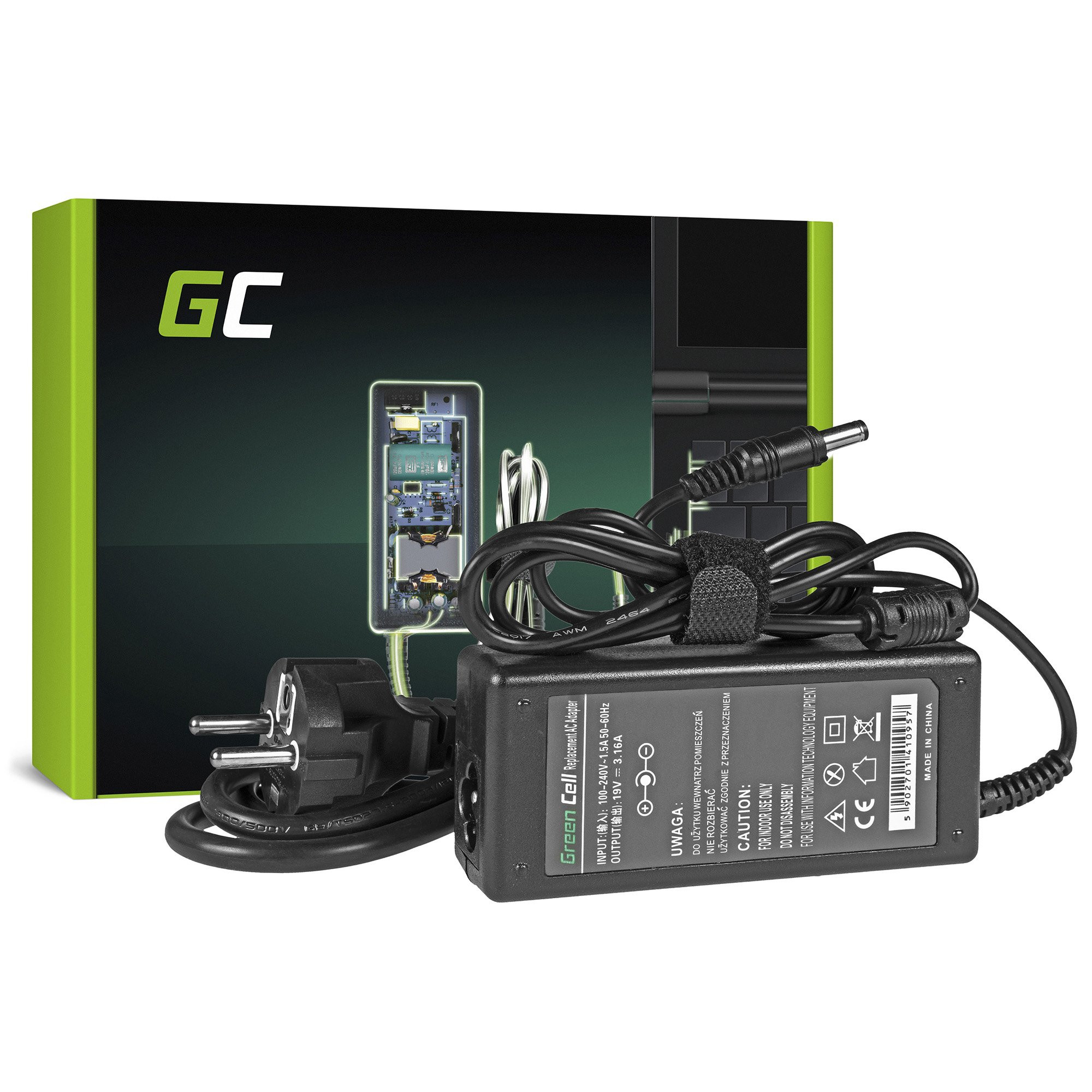 Green Cell Charger  AC Adapter for Toshiba 60W / 19V 3.16A / 5.5mm-2.5mm