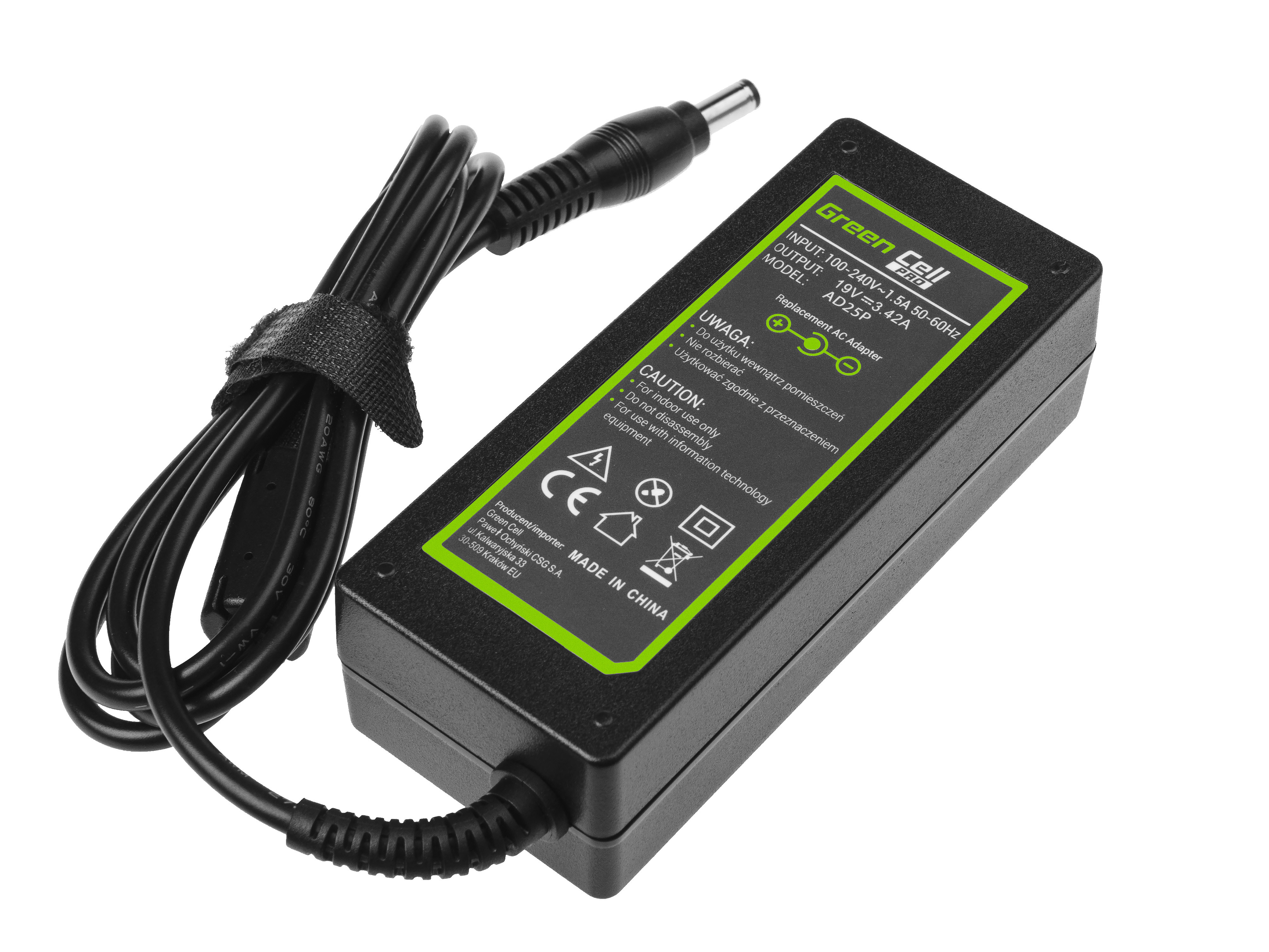 Charger / AC Adapter Green Cell PRO 19V 3.95A 75W for Toshiba Satellite C55 C660 C850 C855 C870 L650 L650D L655 L750 L750D L755