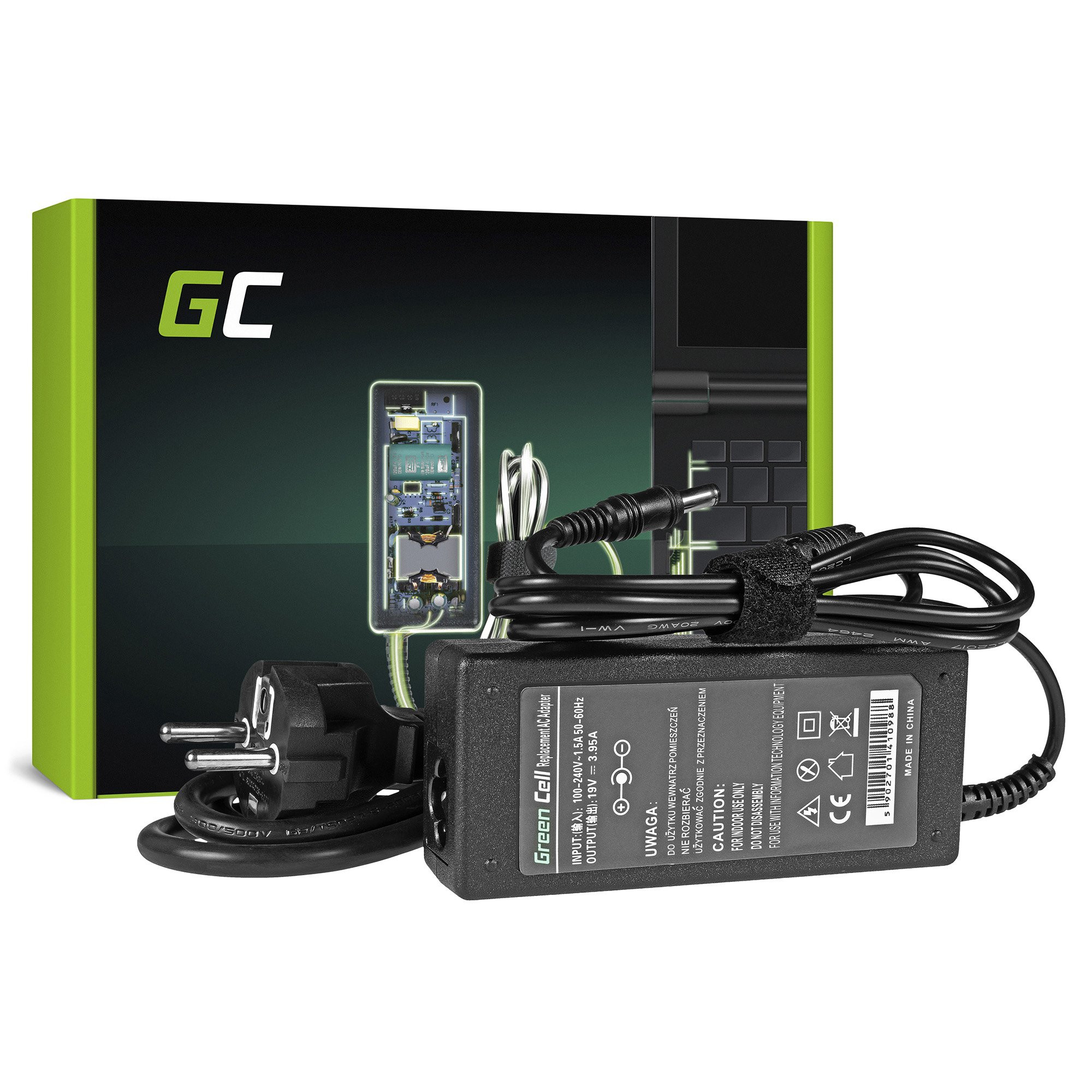 Green Cell Charger  AC Adapter for Toshiba Asus 75W / 19V 3.95A / 5.5mm-2.5mm