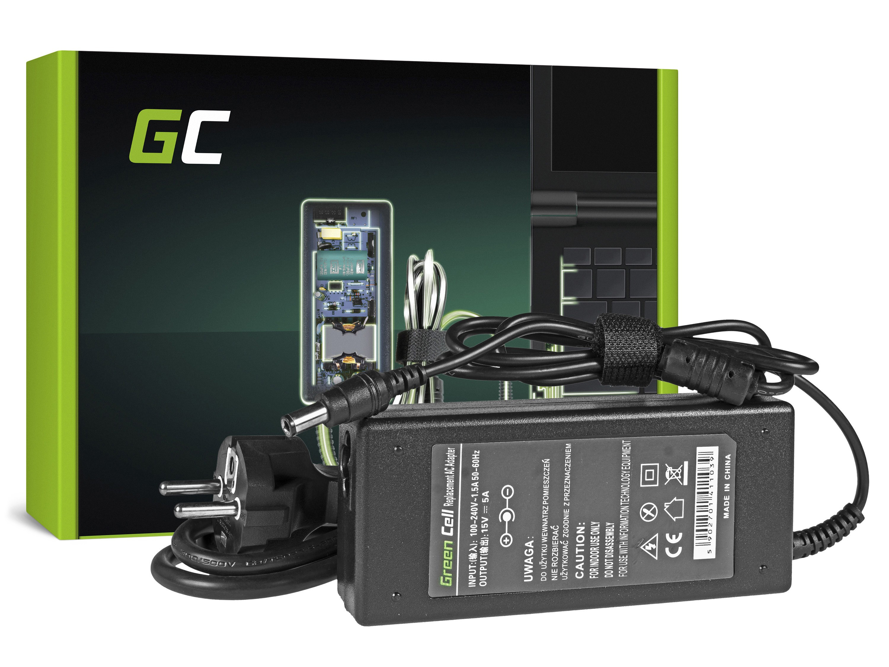 Green Cell Charger  AC Adapter for Toshiba 75W / 15V 5A / 6.3mm-3.0mm