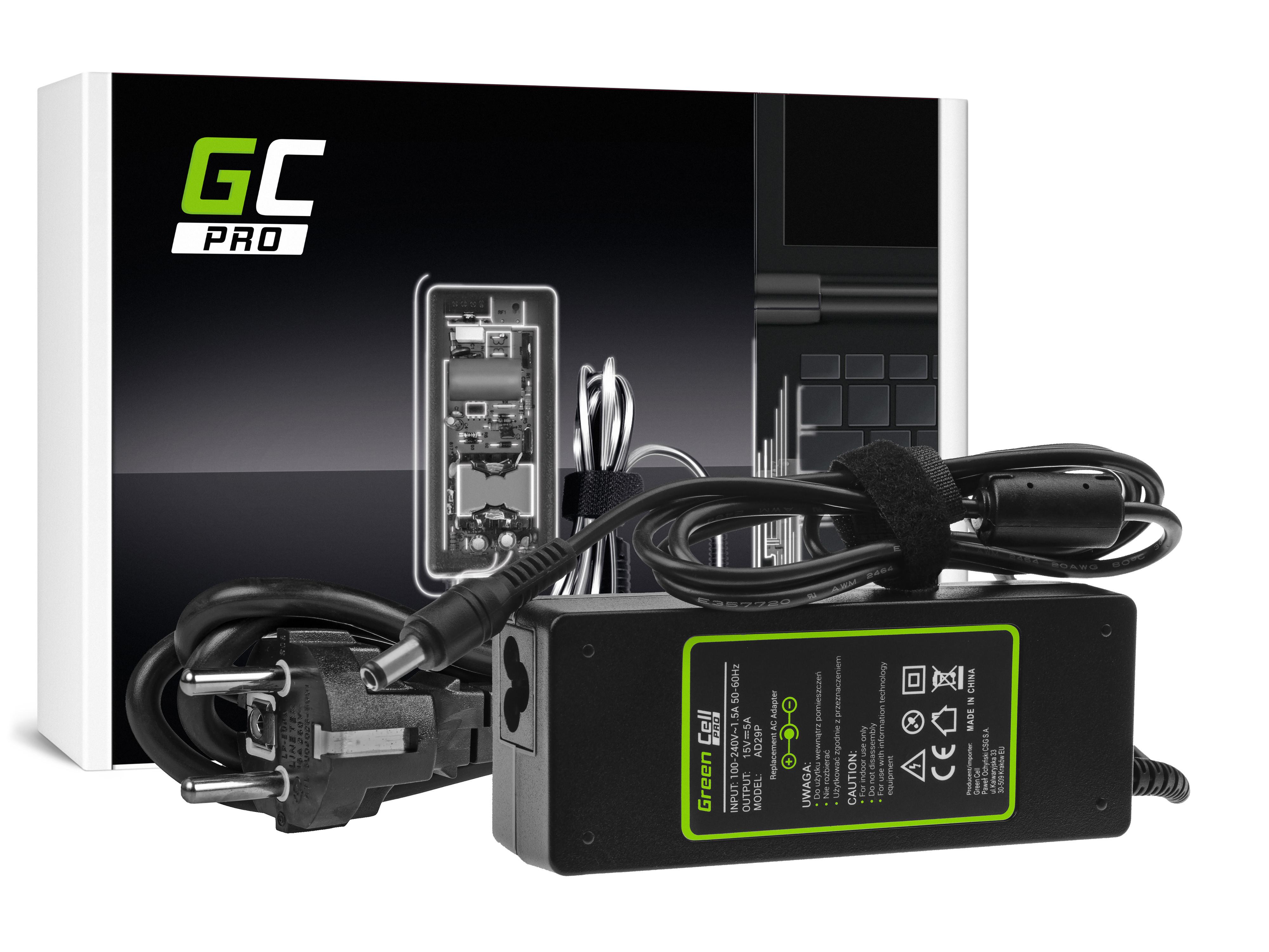 Green Cell AD29P Adaptér Nabíječka pro Toshiba Satellite A100 P100 A105 A110 TECRA A7 A8 A9 A10 15V 5A | 75W | konektor 6.3mm-3.0mm