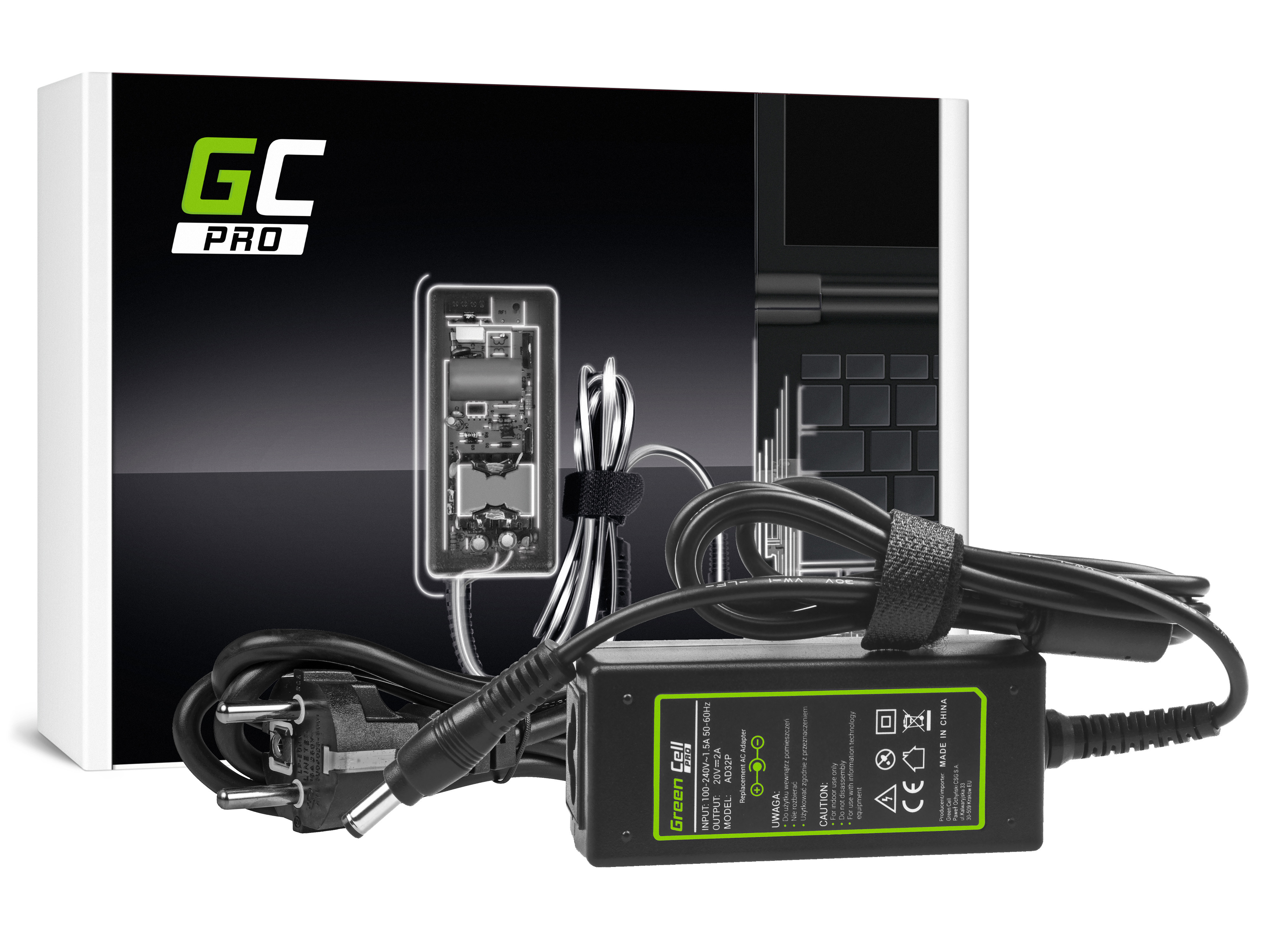 Green Cell AD32P Adaptér nabíječka pro Lenovo S9 S10 S100 S12 U150 U260 20V 2A | 40W | konektor 5.5mm-2.5mm