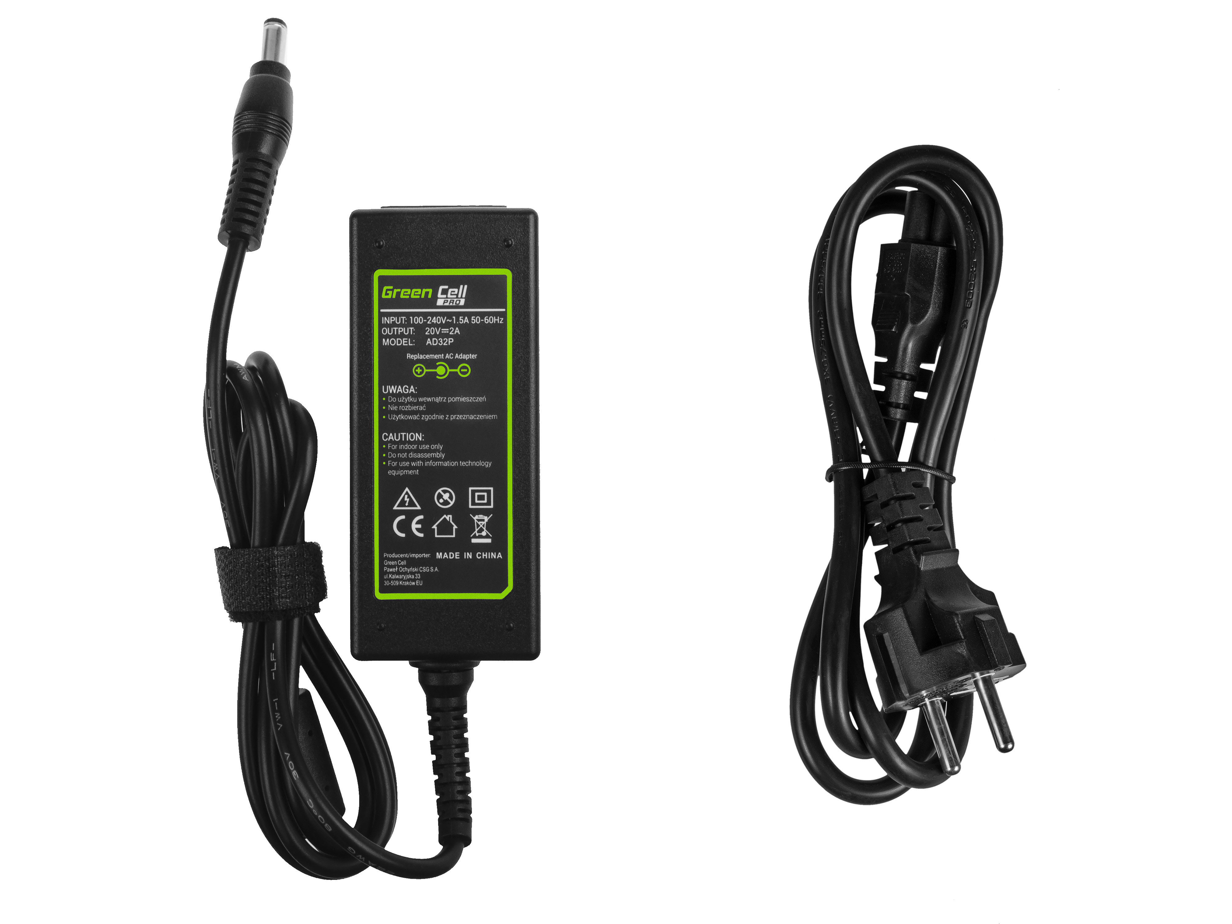 Green Cell PRO Charger  AC Adapter for Lenovo IdeaPad N585 S10 S10-2 S10-3 S10e S100 S200 S300 S400 S405 U310 20V 2A 40W