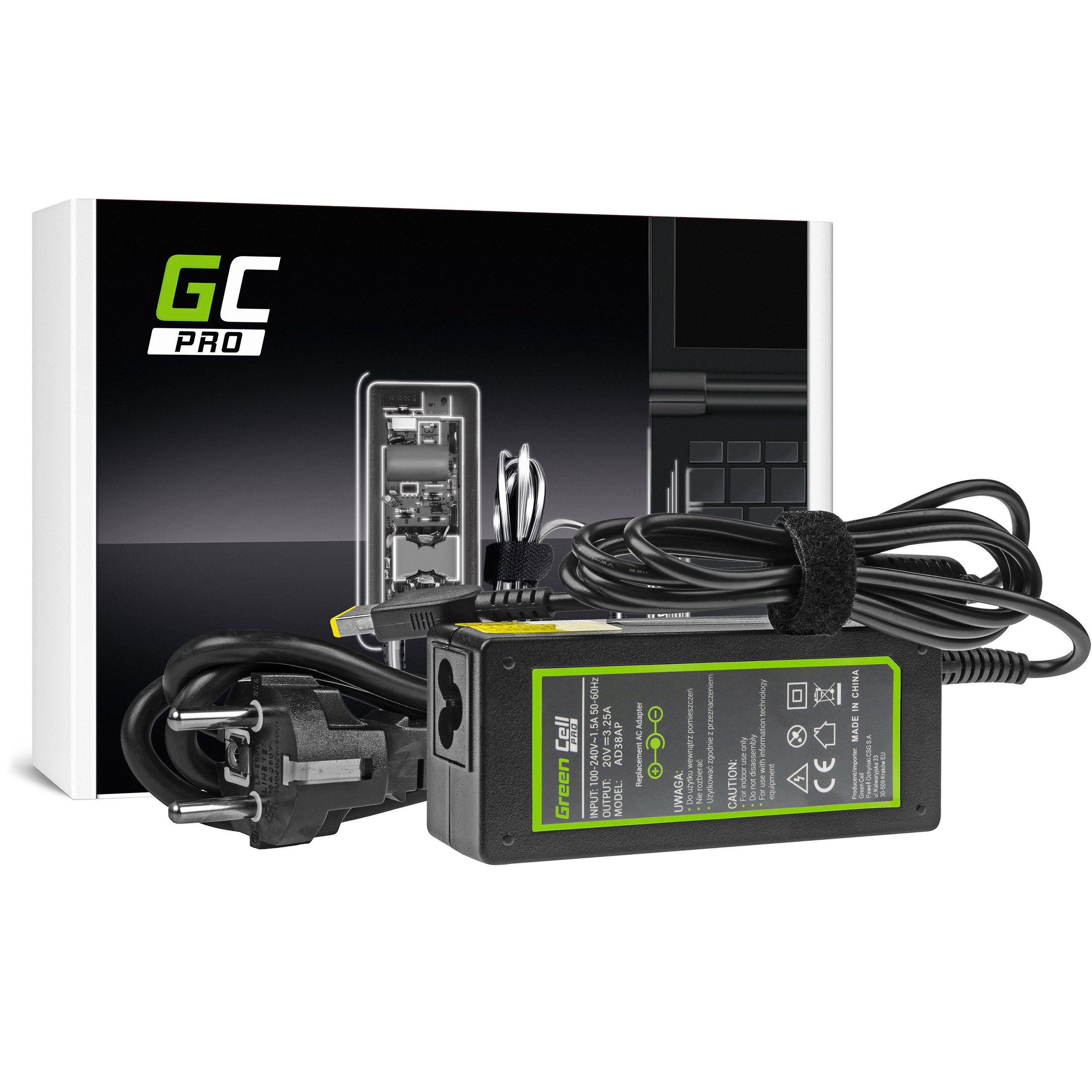 Green Cell AD38AP Adaptér Nabíječka Lenovo B50 G50 G50-30 G50-45 G50-70 G50-80 G500 G500s G505 G700 G710 Z50-70 20V 3.25A 65W