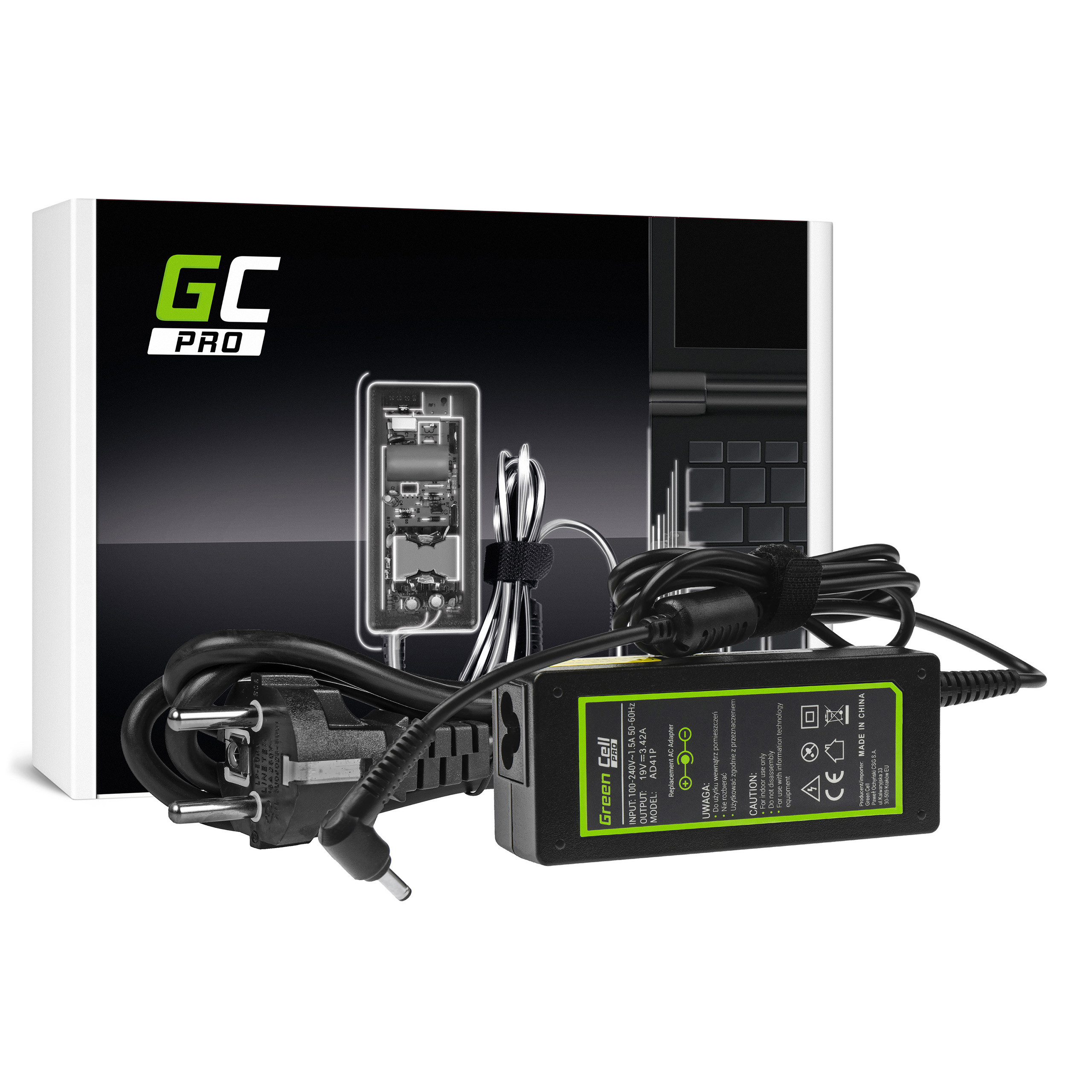 Green Cell AD41P Adaptér Nabíječka pro Asus Vivobook S200 Zenbook UX21 UX32 | 19V | 3.42A | 65W | konektor 4.0mm-1.35mm