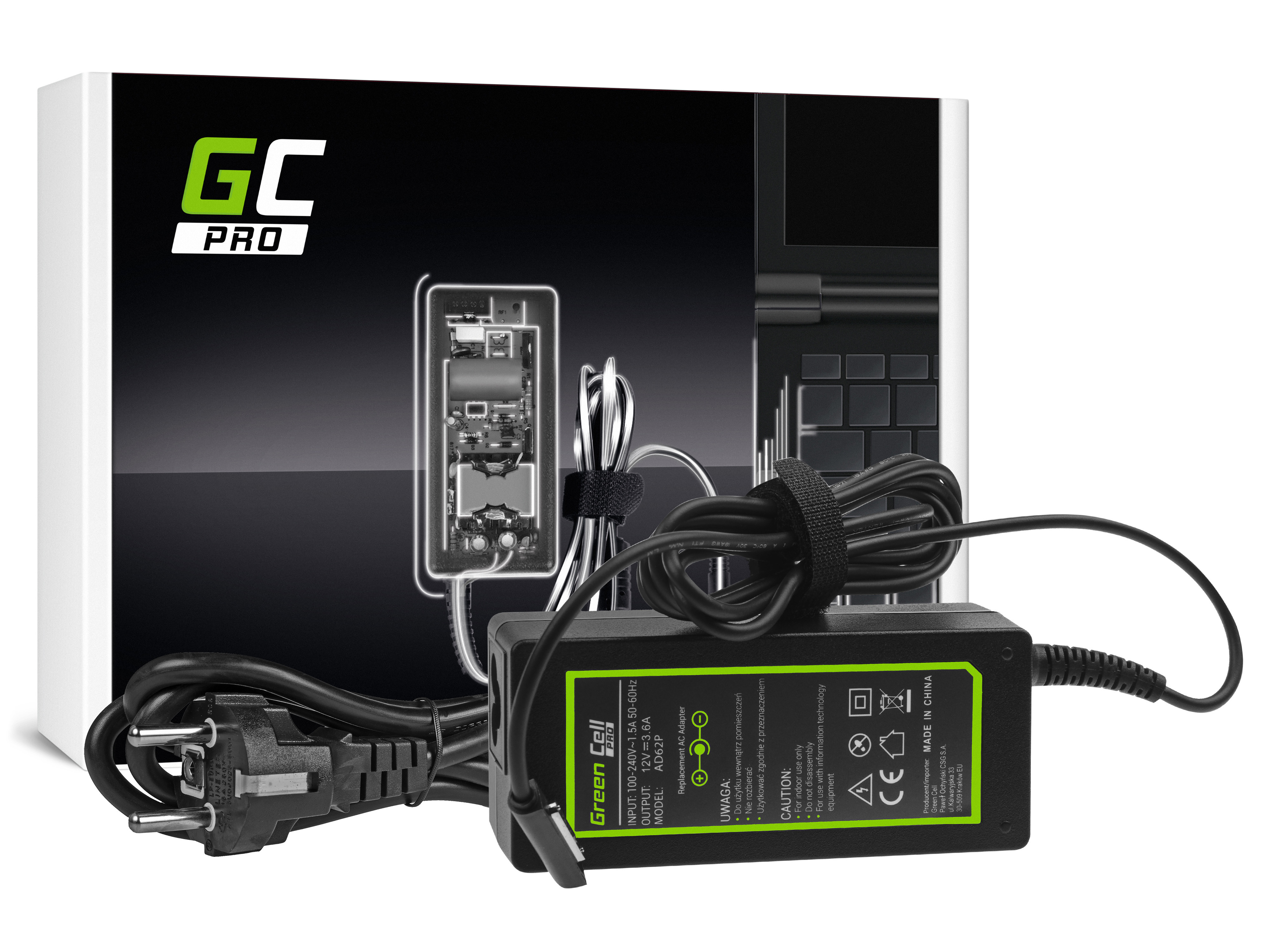 Green Cell AD62P Nabíječka adaptér pro Microsoft Surface RT, RT / 2, Pro a Pro 2 12V 48W