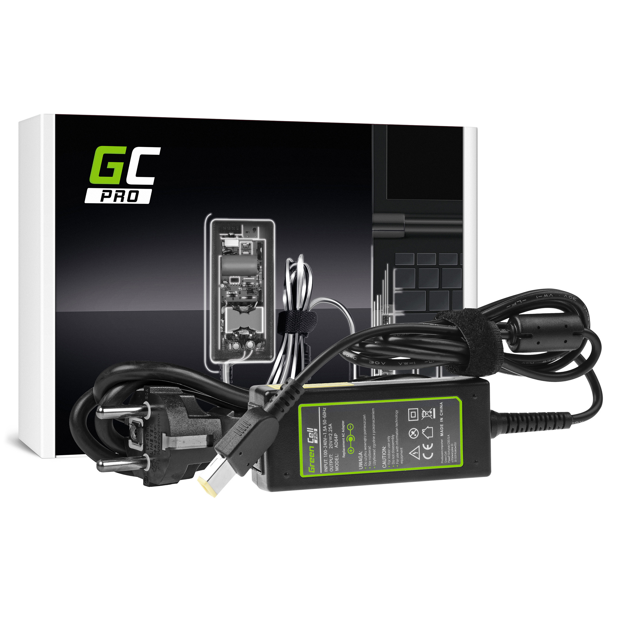 Green Cell PRO Charger AC Adapter 20V 2.25A 45W for Lenovo G50-30 G50-70 G505 Z50-70 ThinkPad T440 T450 IdeaPad S210