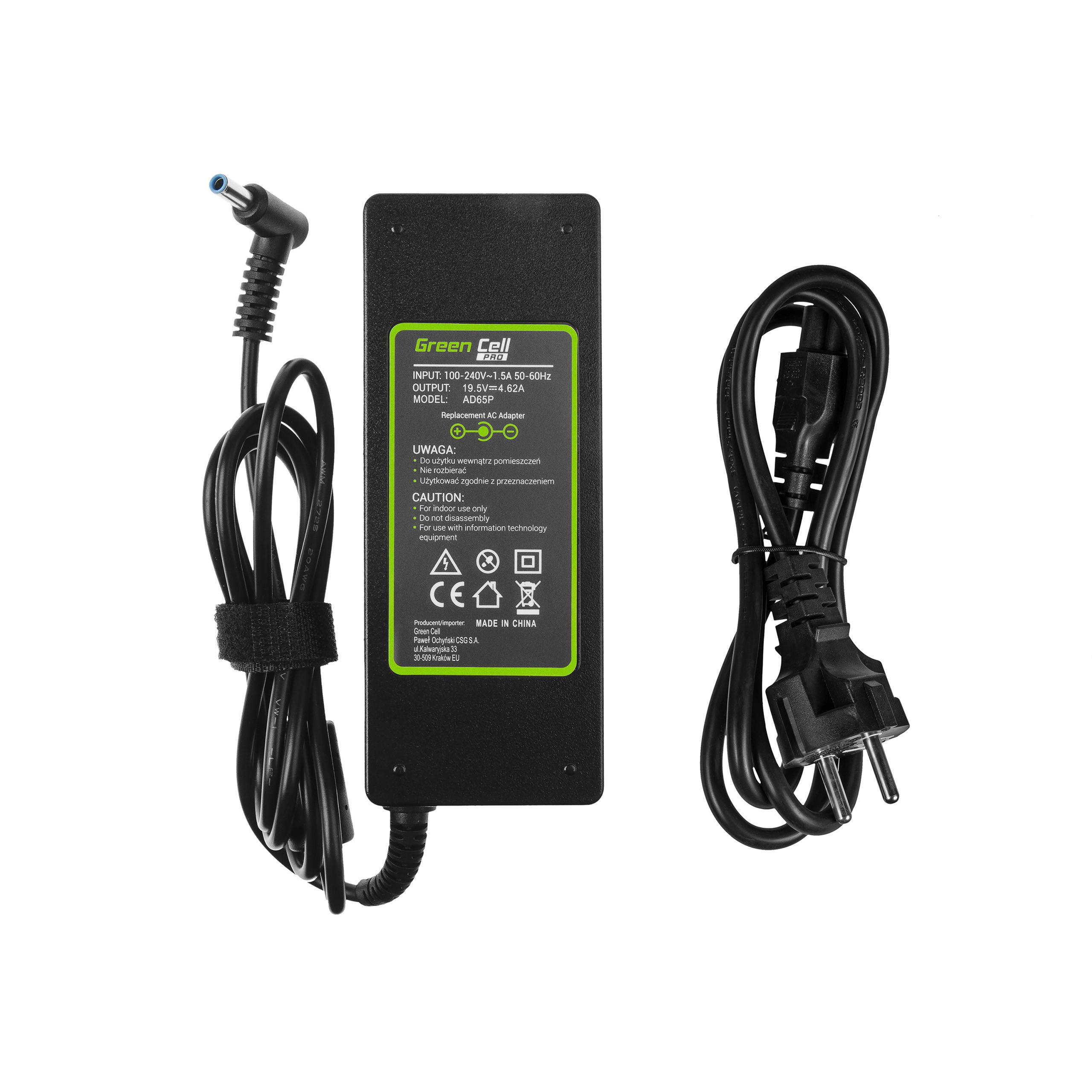 Green Cell AD65P Nabíječka k notebookům HP Pavilion a Compaq 14, 15 a 17 | 19.5V | 4.62A | 90W | konektor 4.5mm-3.0mm Pin